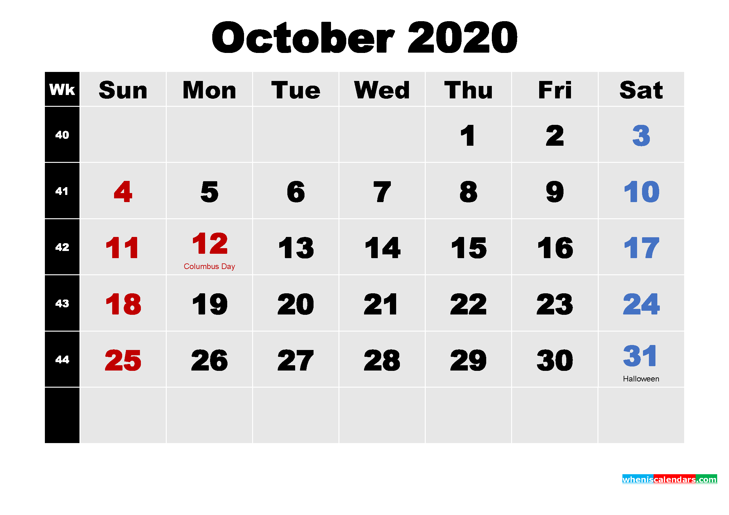 October 2020 Desktop Calendar High Resolution
