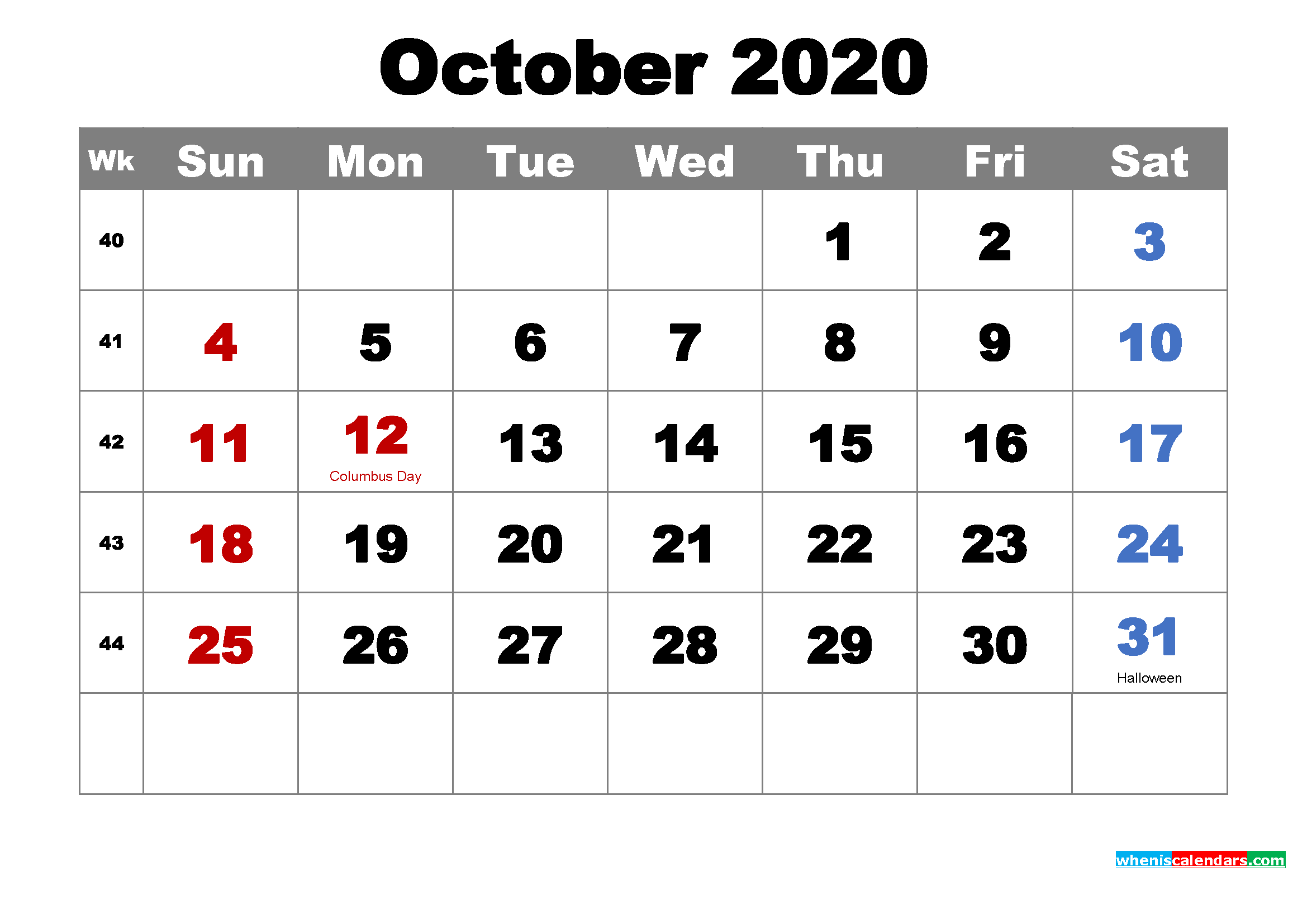 Free Printable October 2020 Calendar Wallpaper