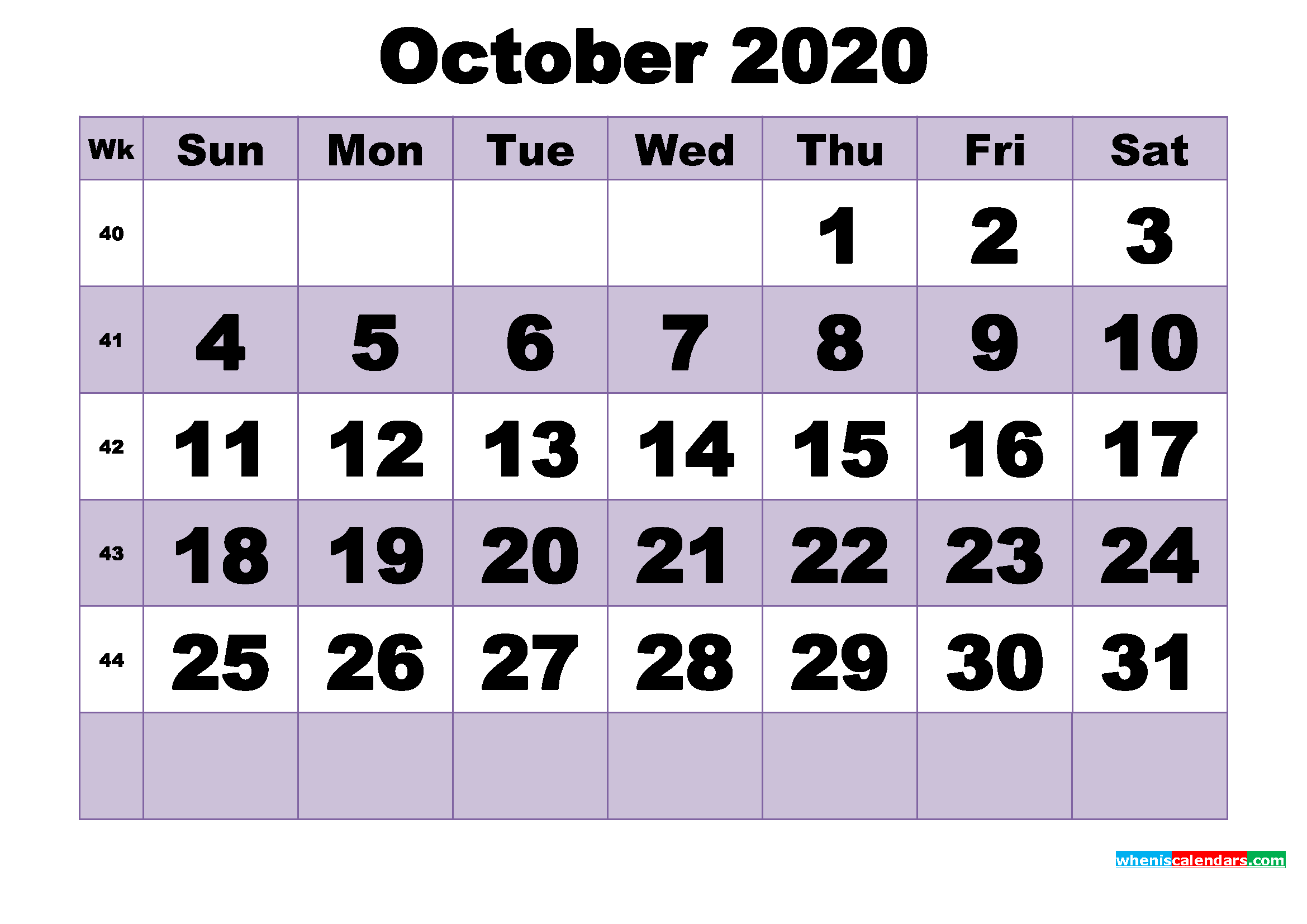 Free October 2020 Printable Monthly Calendar Template