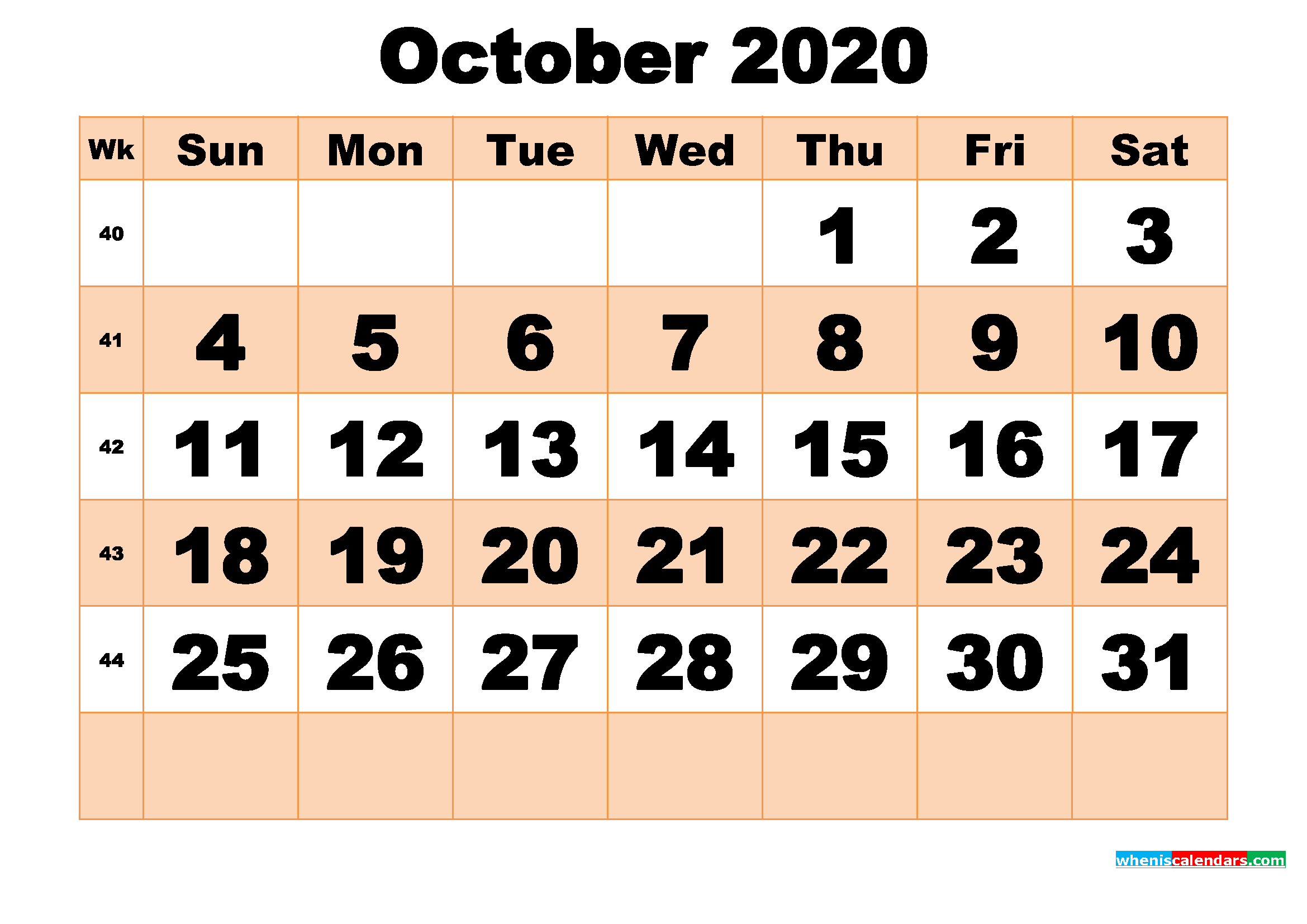 Free Printable October 2020 Calendar Template Word, PDF