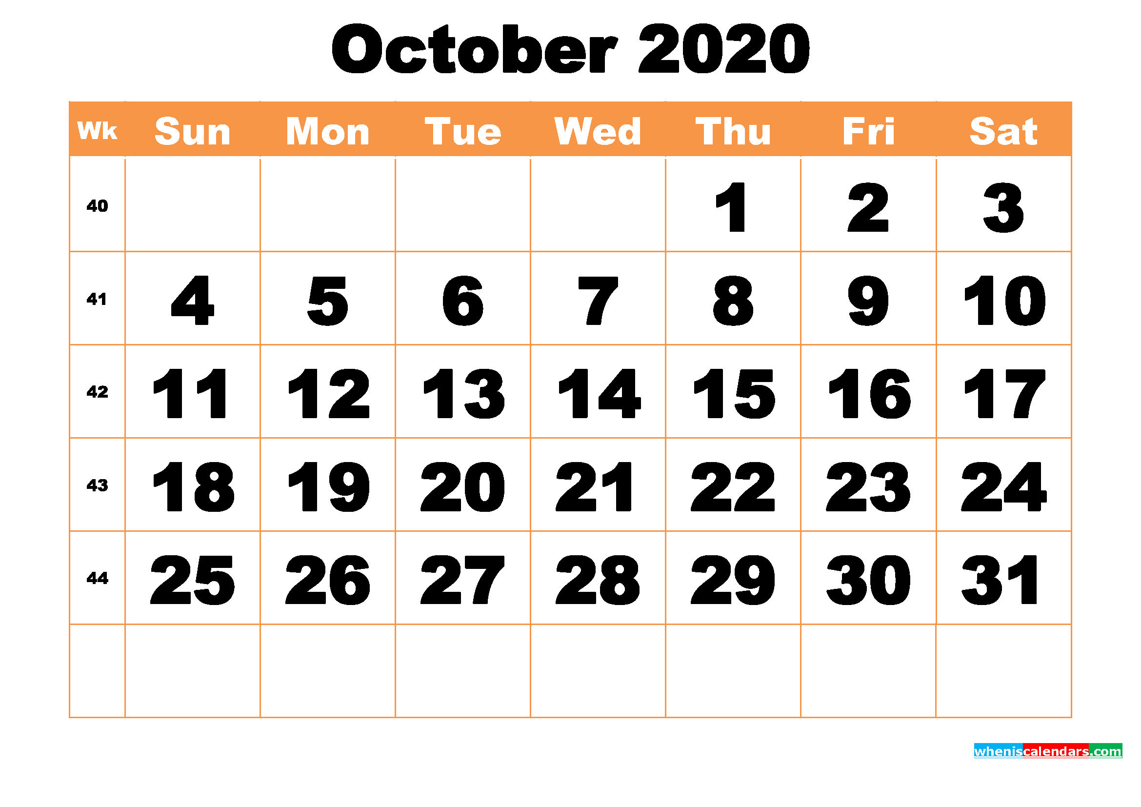 Free Printable October 2020 Calendar Word, PDF, Image