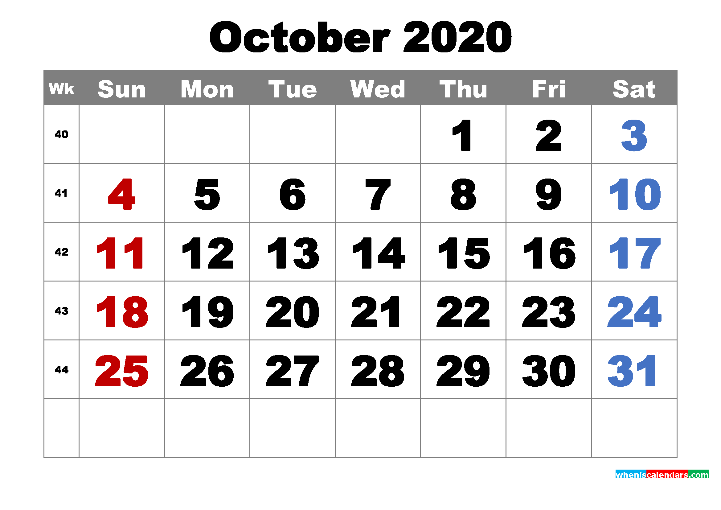 It is a photo of Declarative Free Printable October 2020 Calendars
