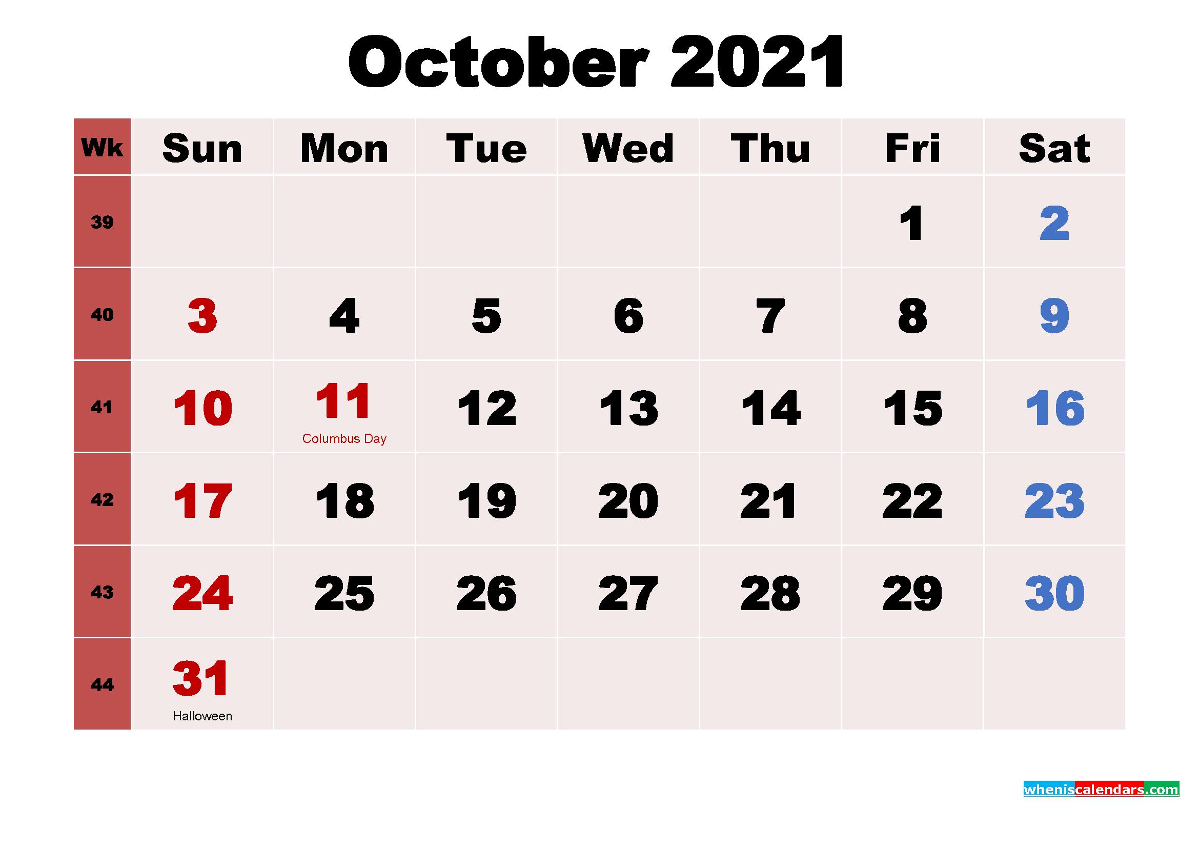 October 2021 Calendar Wallpaper Free Download