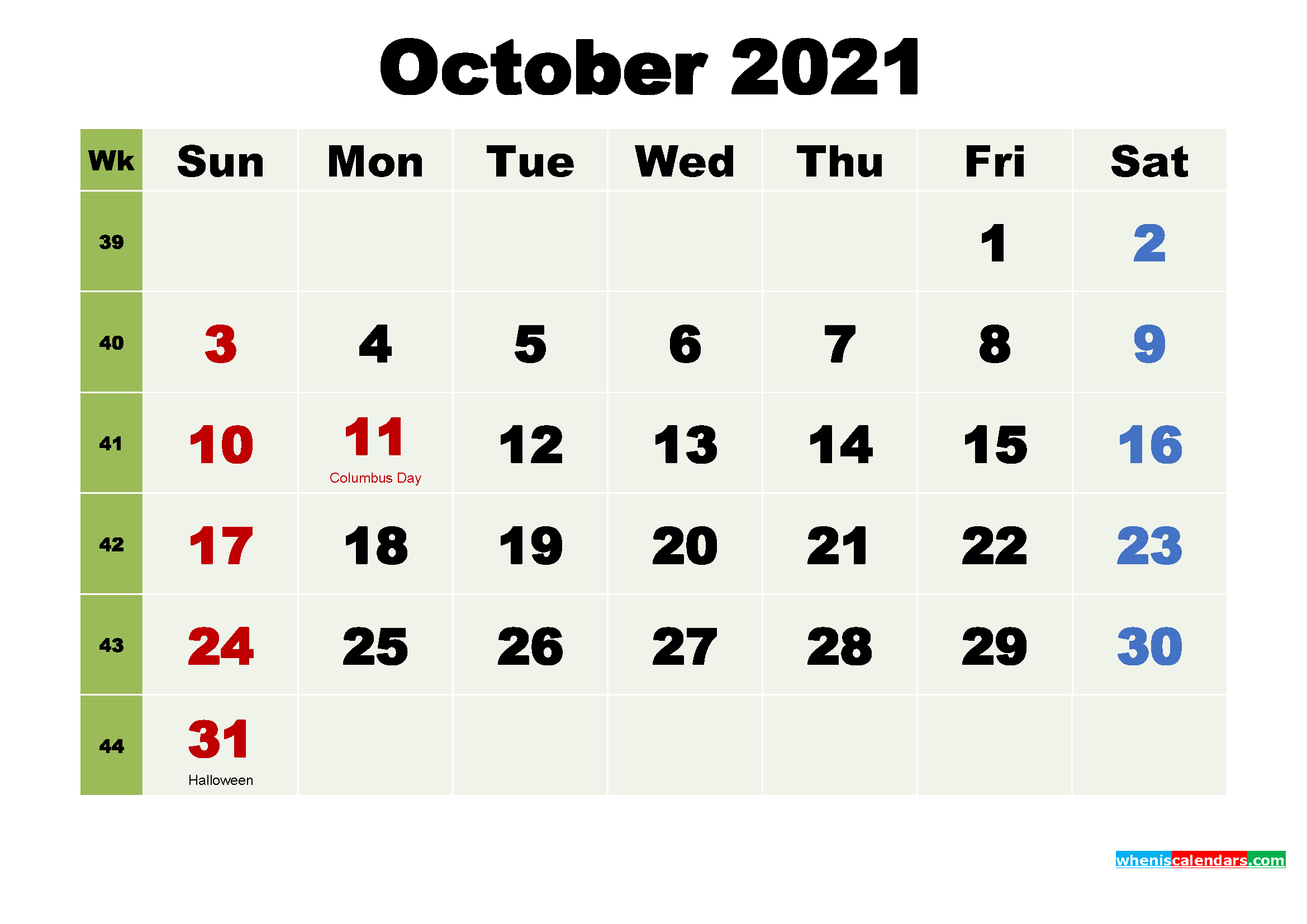 Printable October 2021 Calendar by Month