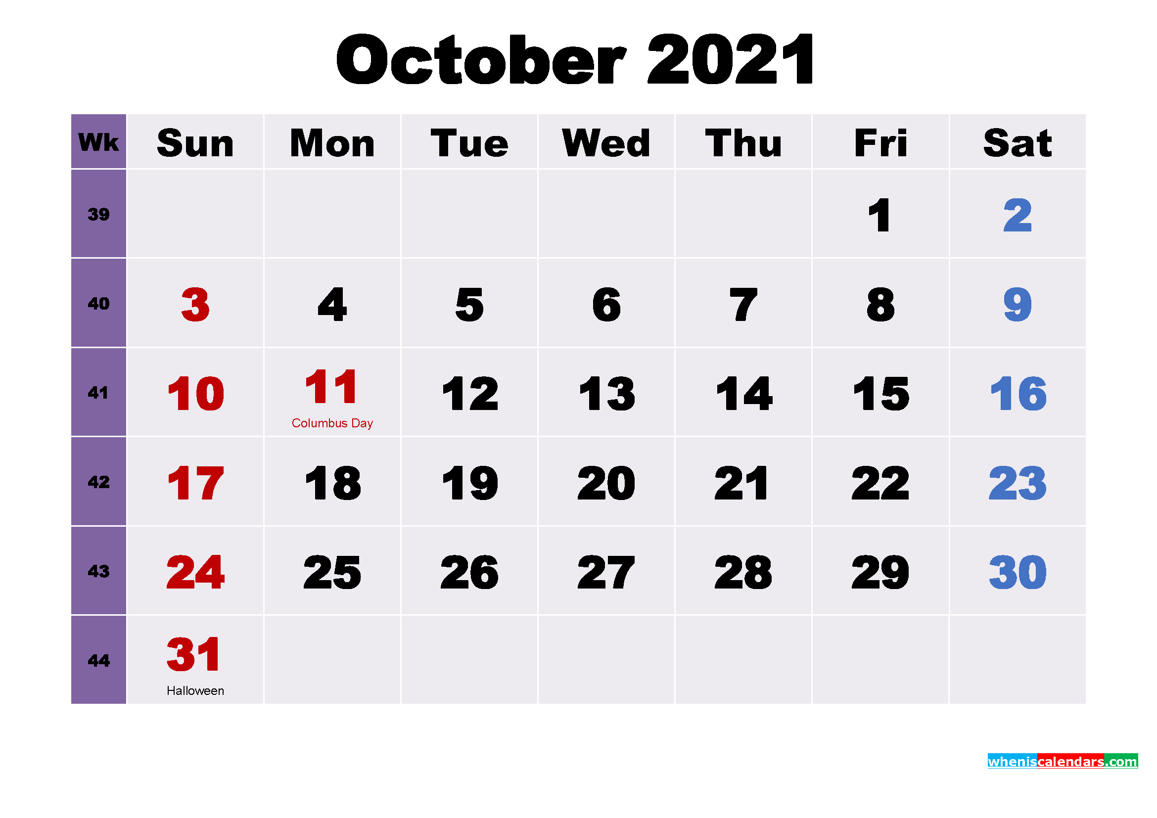 Printable 2021 Calendar by Month October