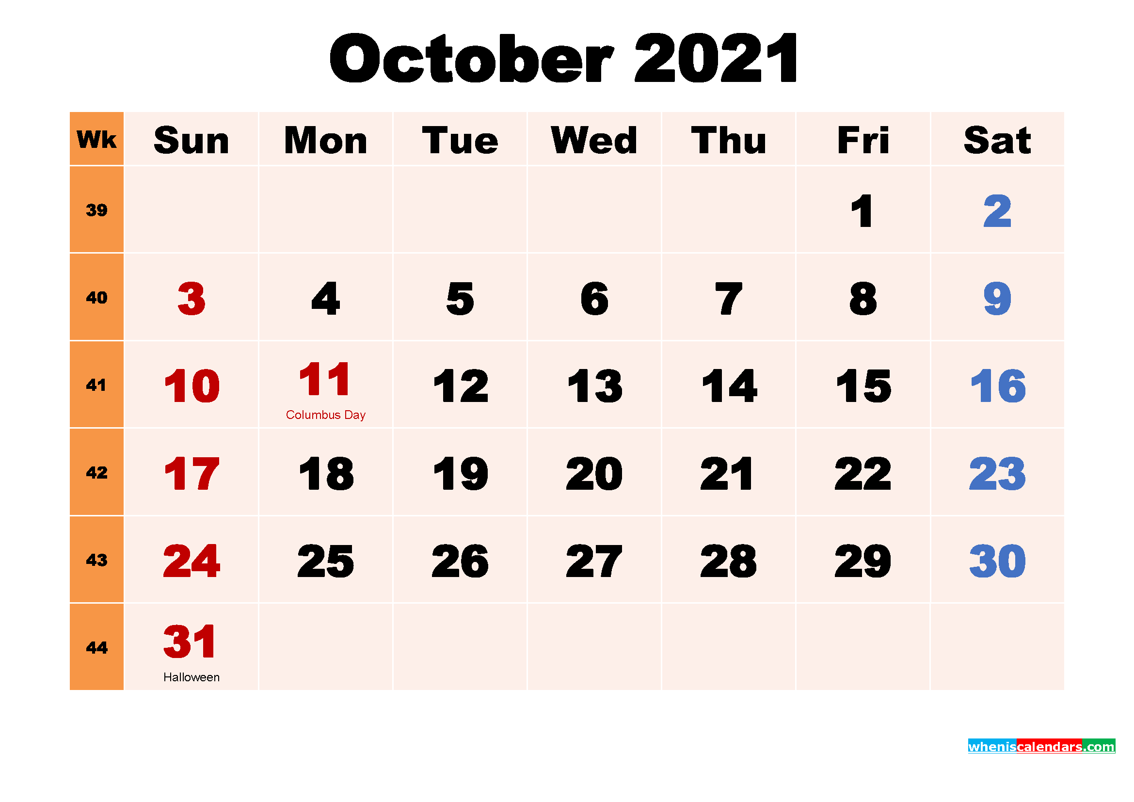 October 2021 Printable Calendar with Holidays Word, PDF ...