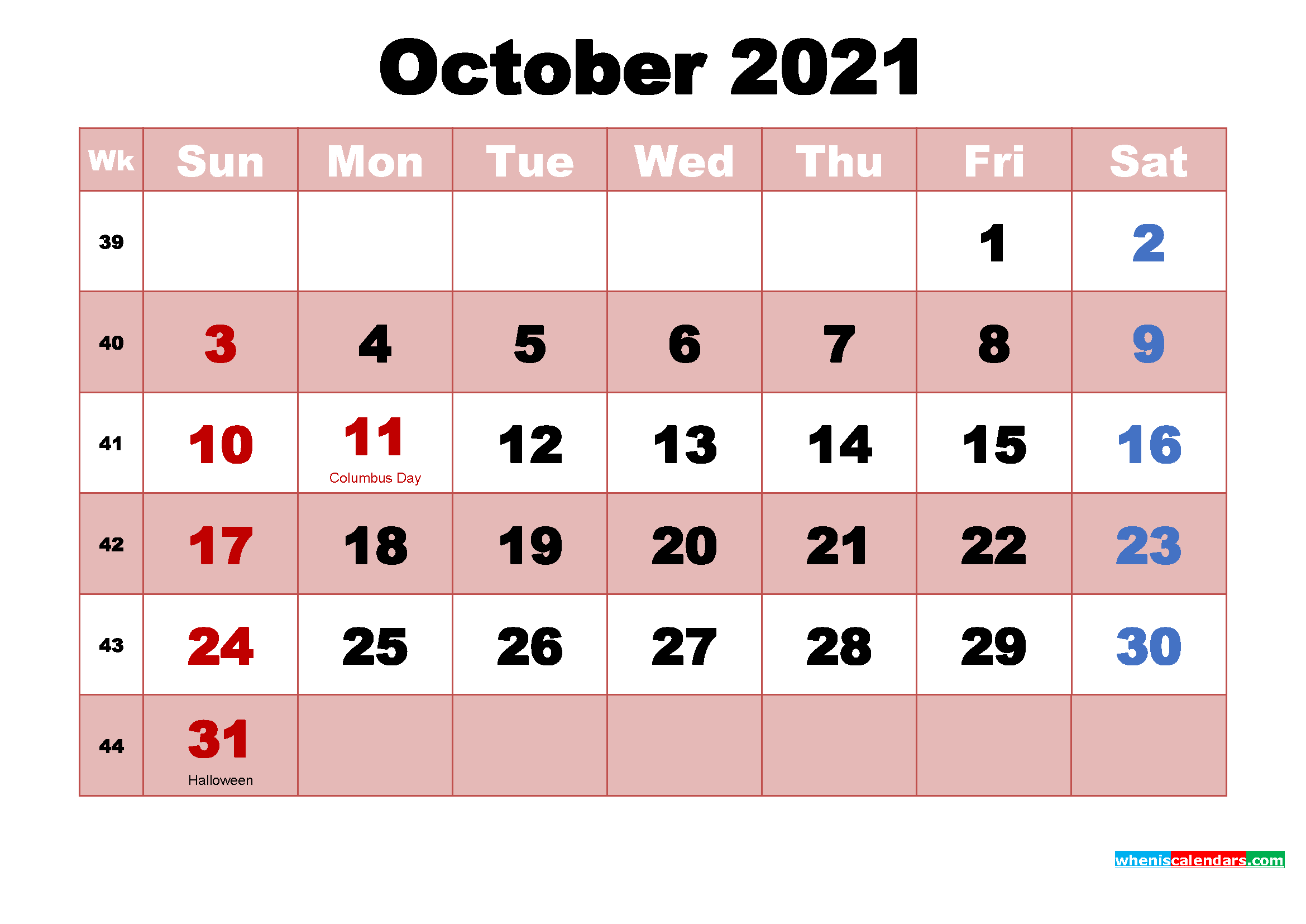 October 2021 Printable Monthly Calendar with Holidays ...