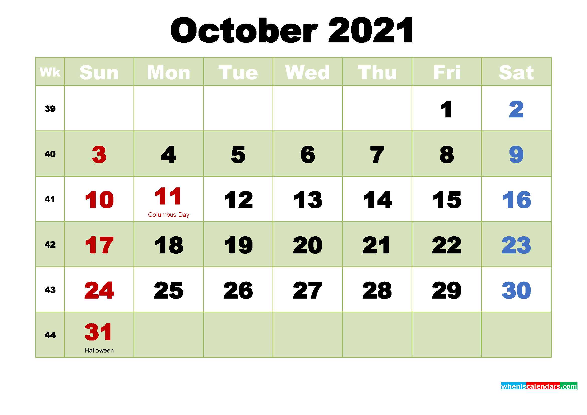 October 2021 Desktop Calendar Free Download
