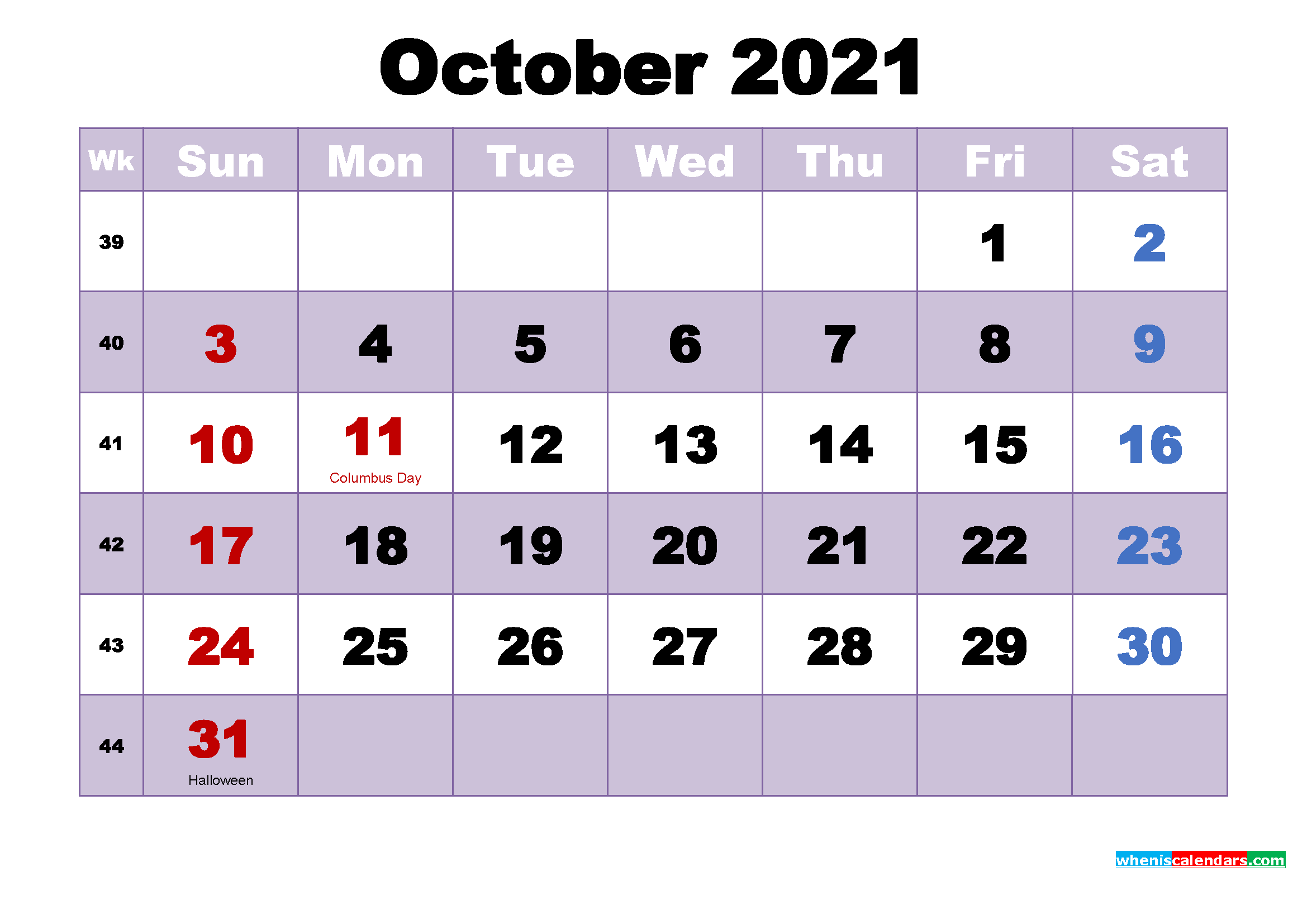 Free Printable October 2021 Calendar Word