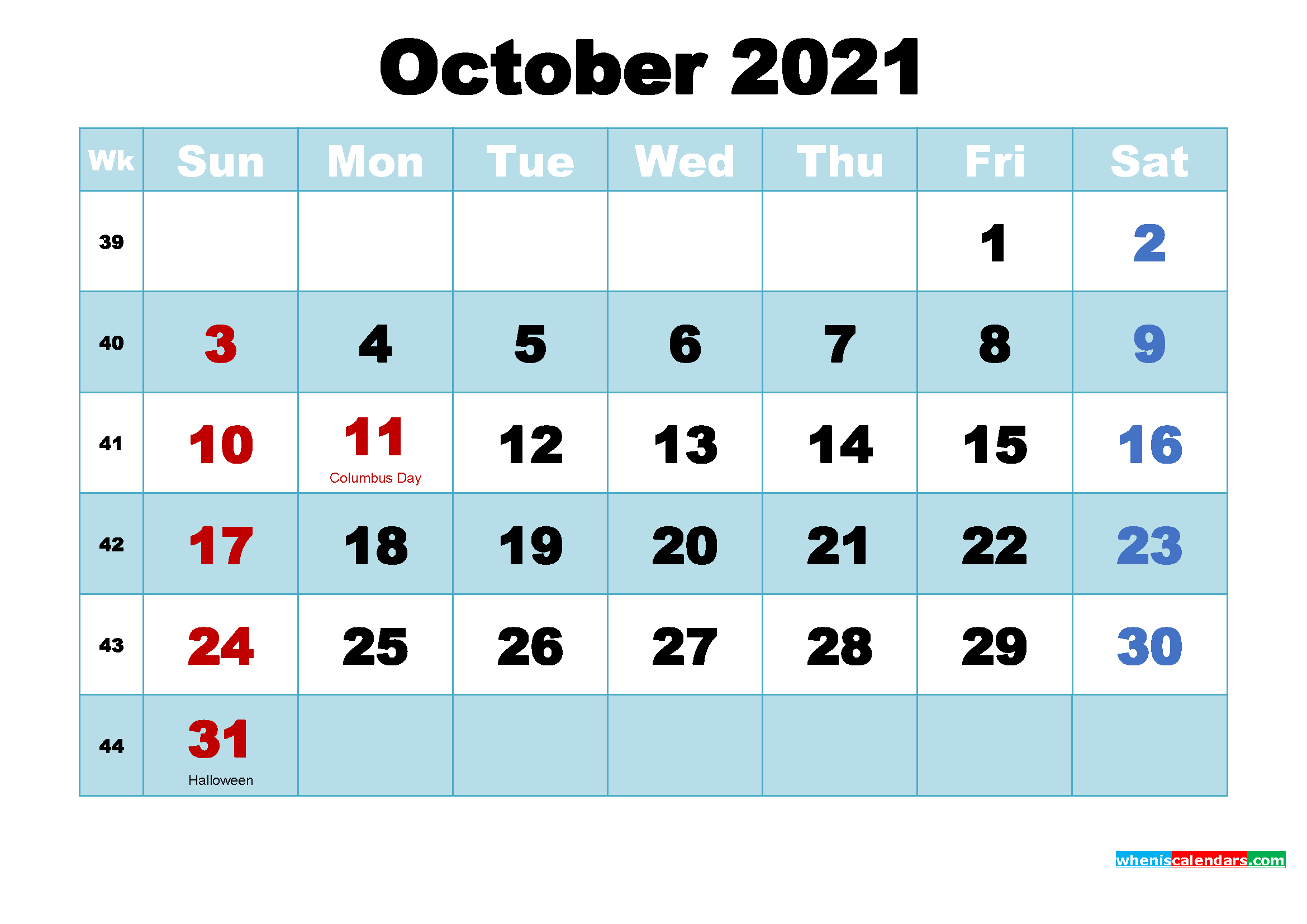 October 2021 Free Printable Calendar with Holidays