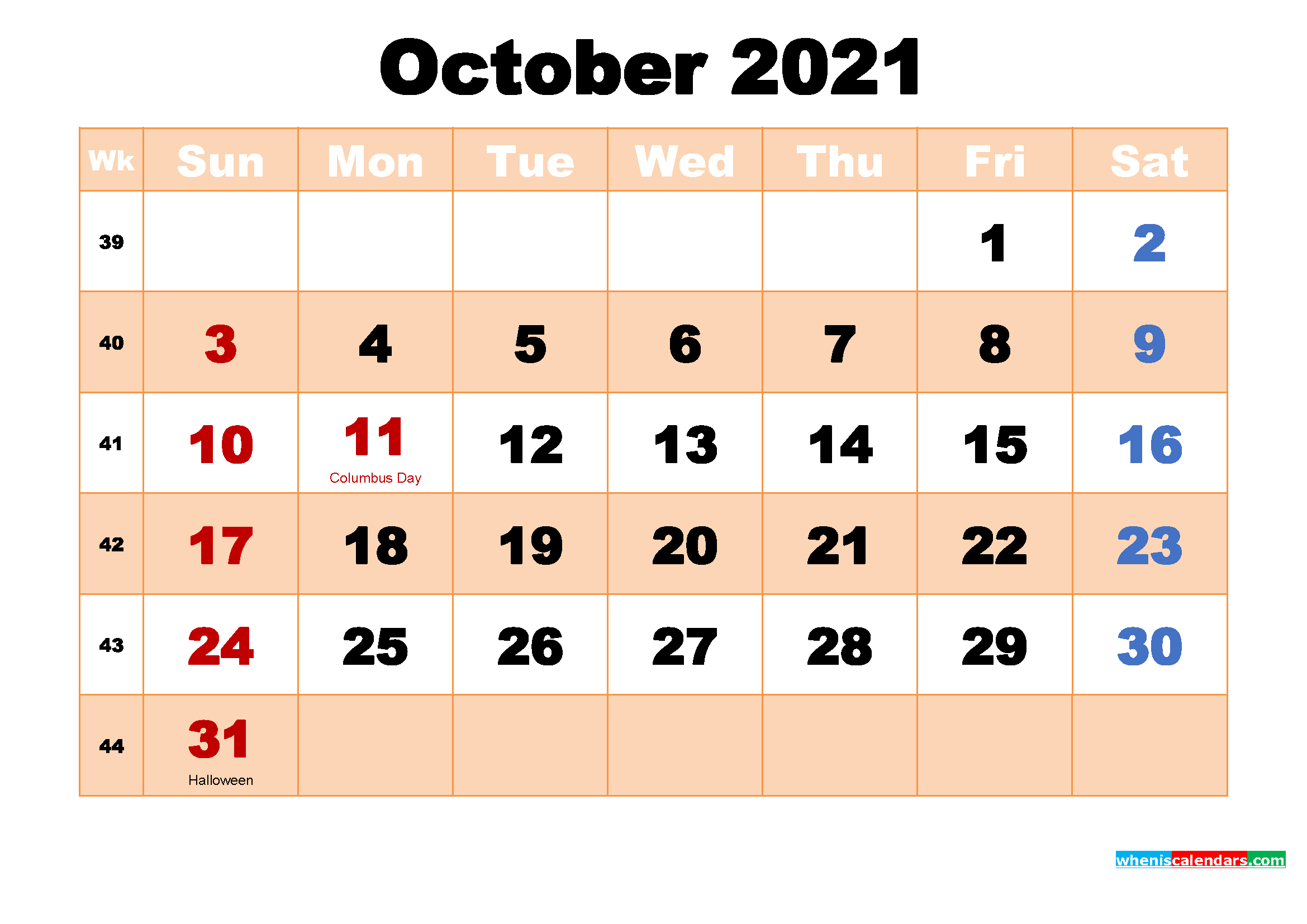 October 2021 Calendar with Holidays Wallpaper
