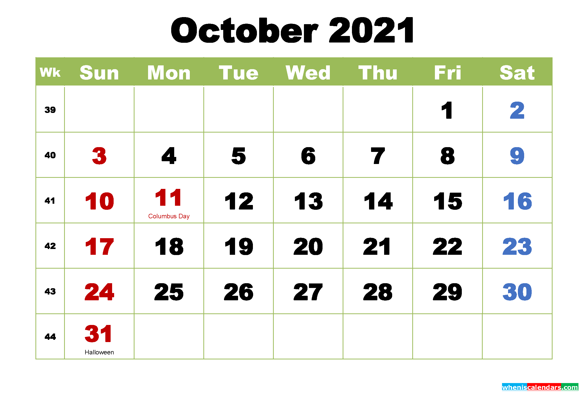 Pictures of October 2021 Calendar With Holidays Printable