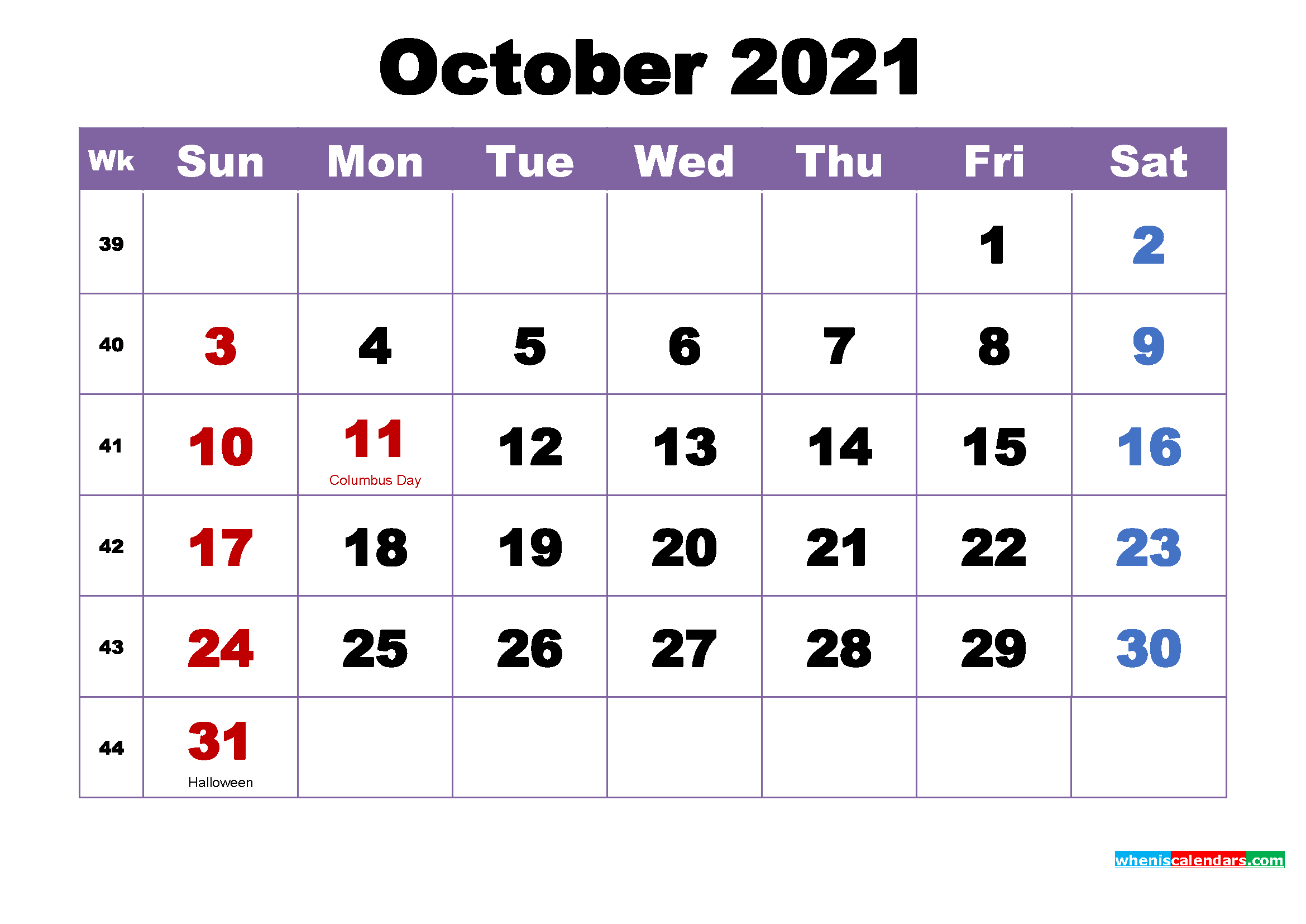 Free Printable 2021 Monthly Calendar with Holidays October