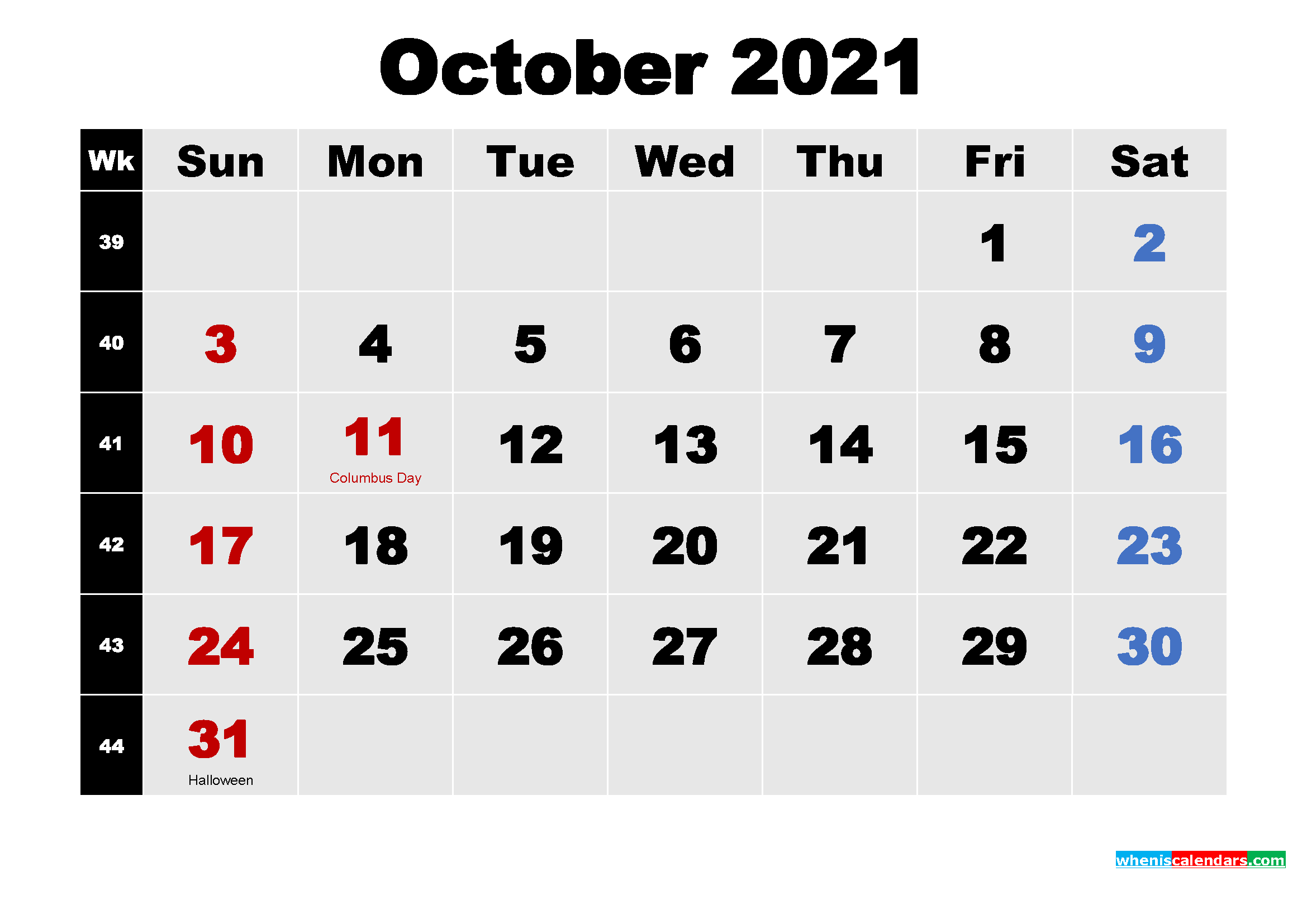 Printable 2021 Calendar with Holidays October