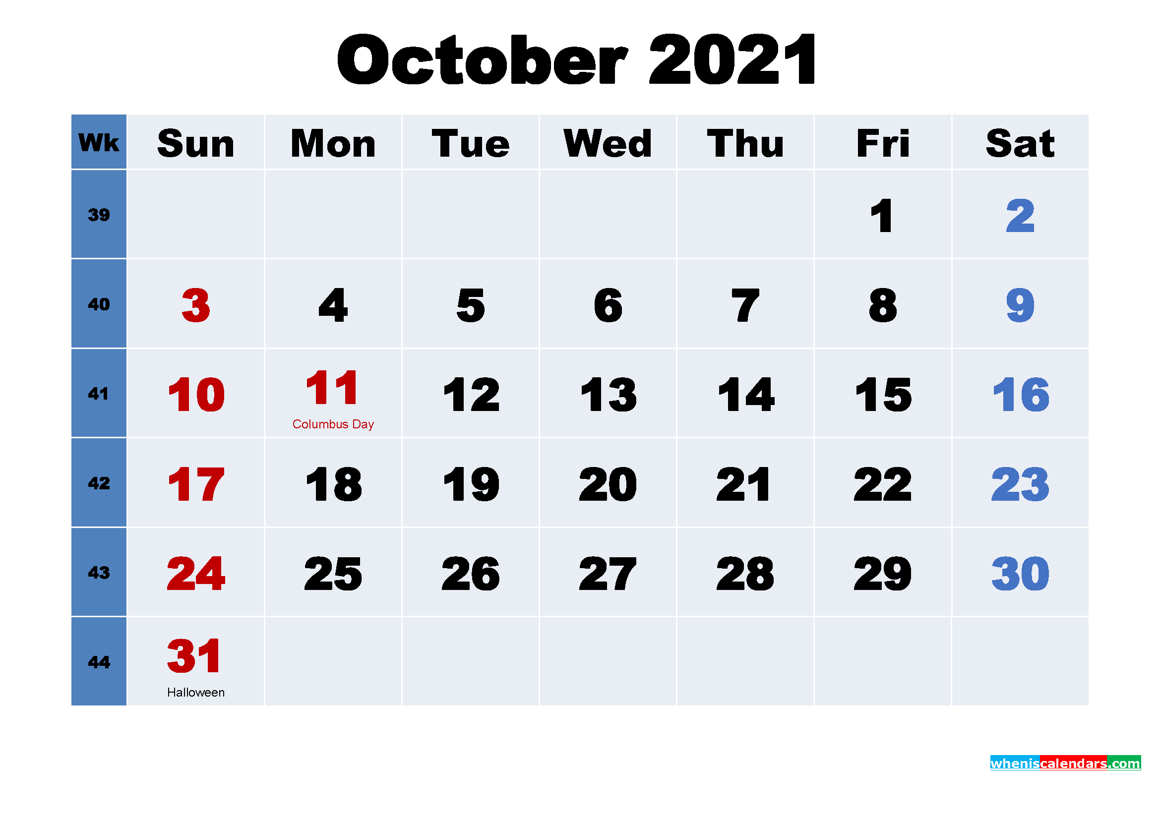 Free Printable 2021 Calendar with Holidays October