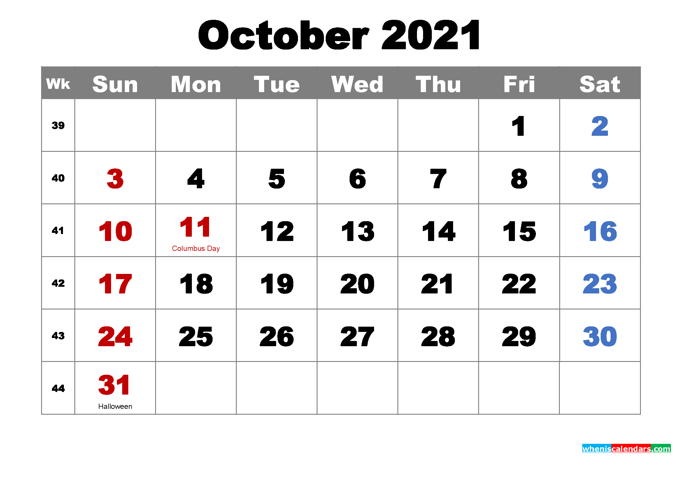 Free October 2021 Desktop Calendar High Resolution