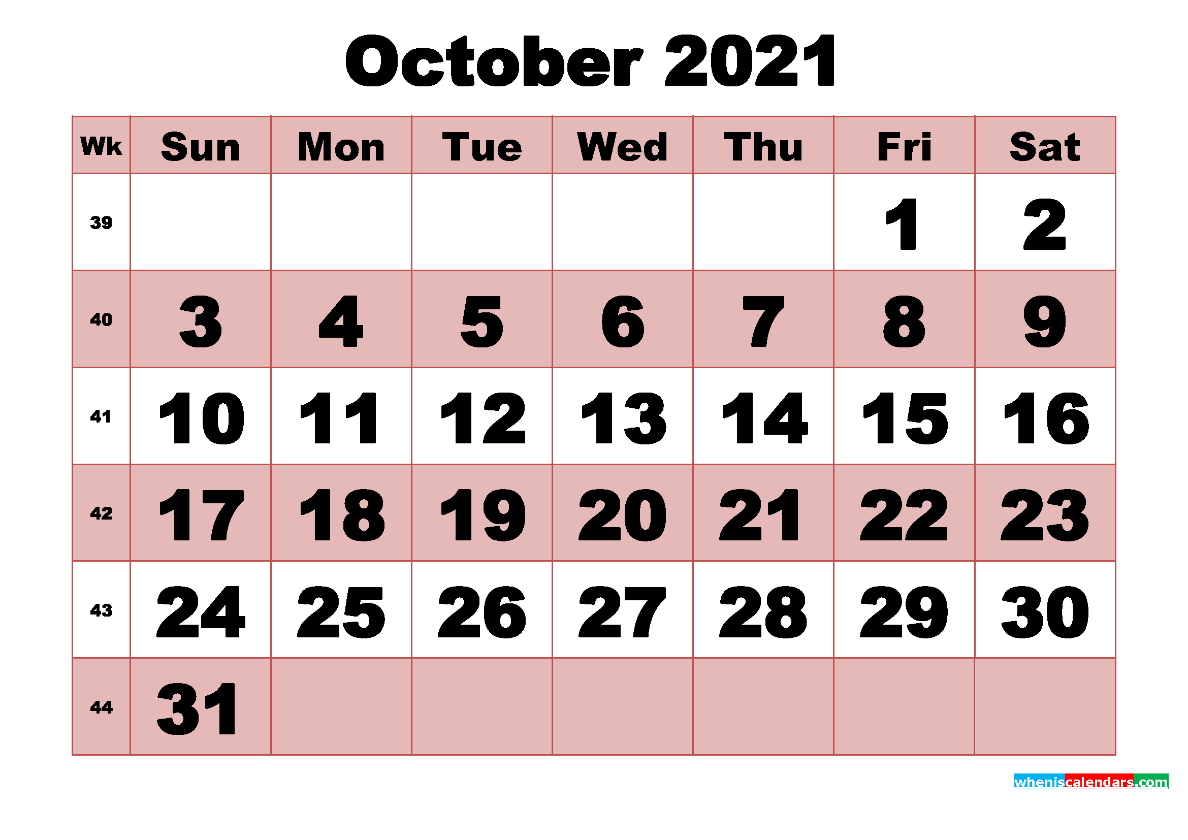 Free Printable Monthly Calendar October 2021