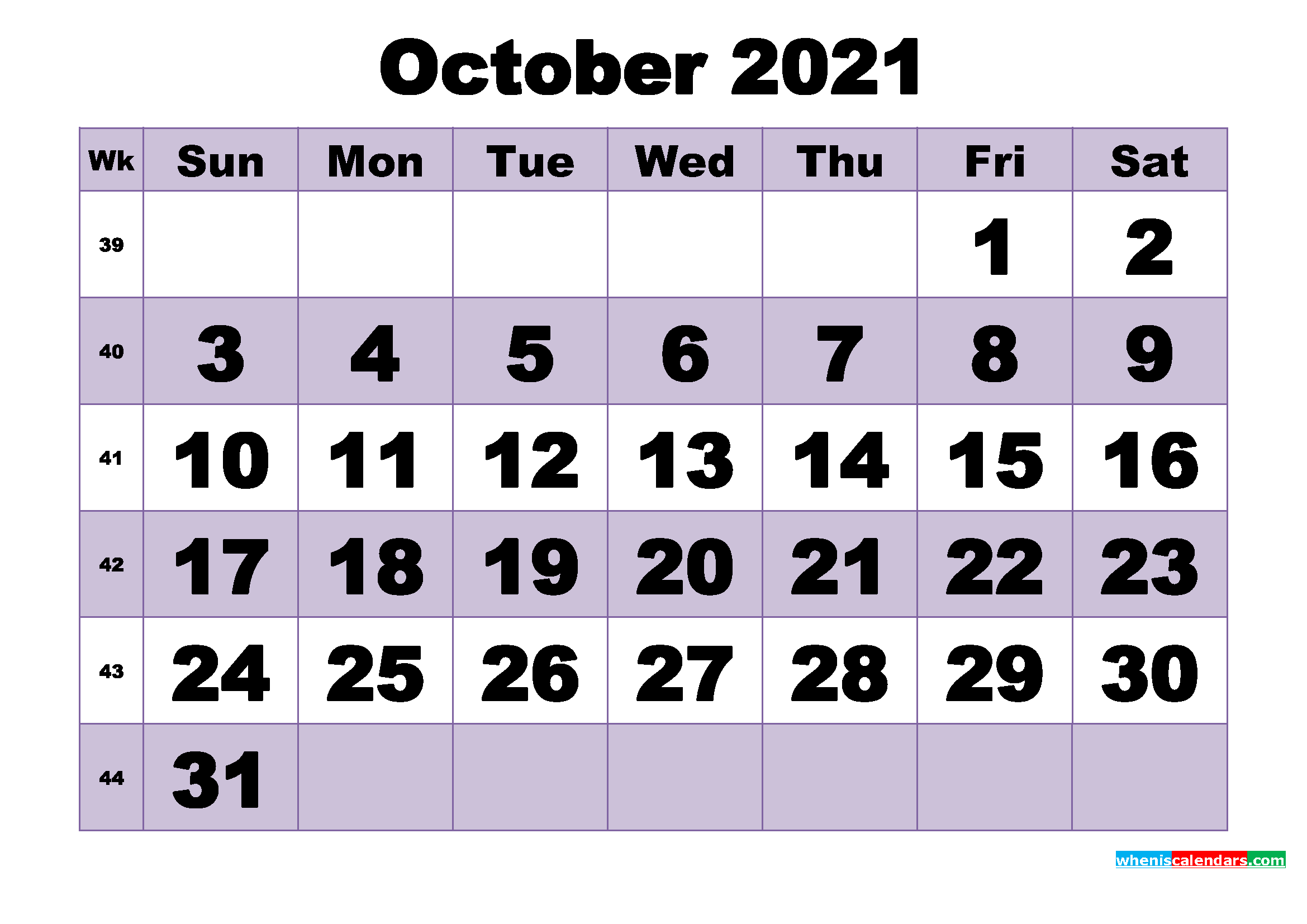 Free October 2021 Printable Monthly Calendar Template