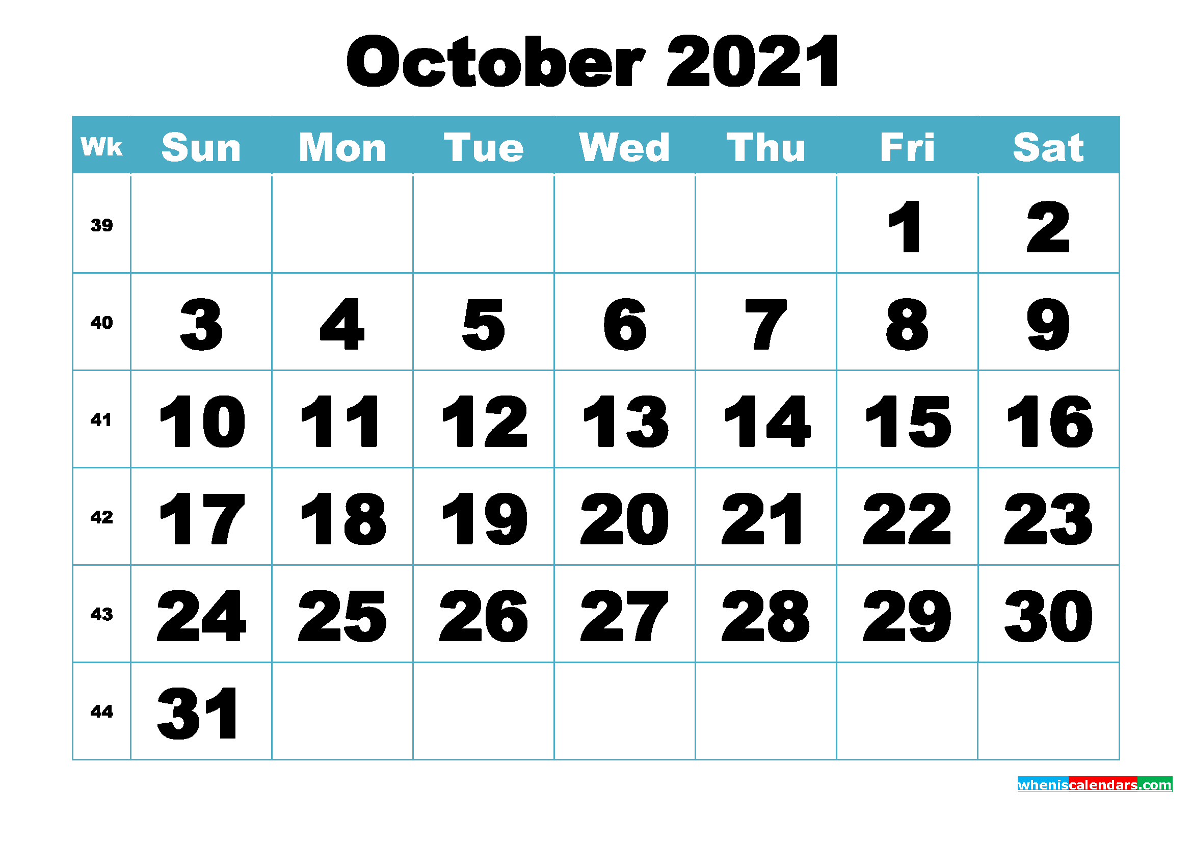 Free October 2021 Printable Monthly Calendar Template ...