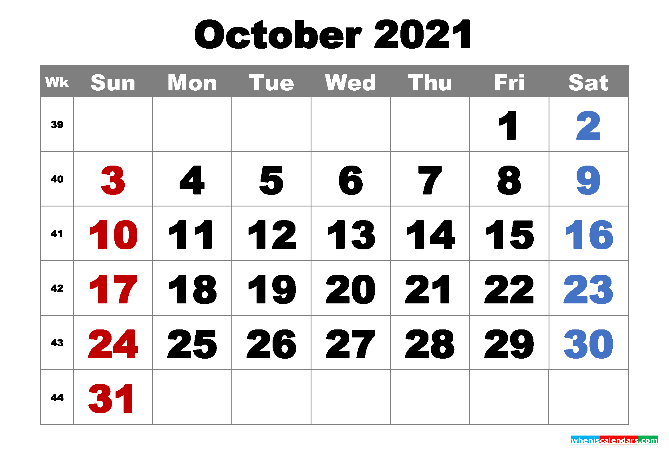 Free Printable October 2021 Calendar Word, PDF, Image