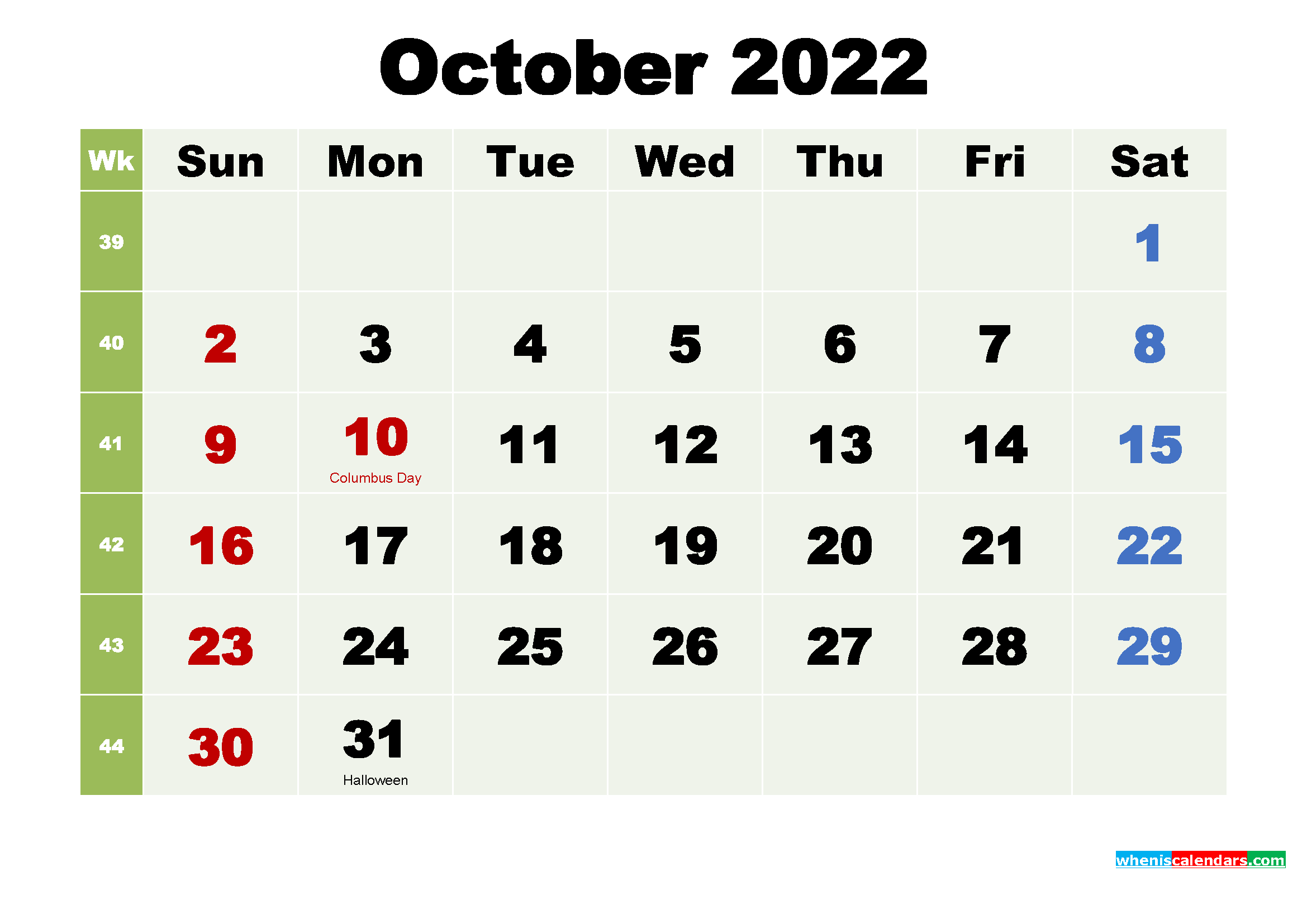 Printable October 2022 Calendar by Month
