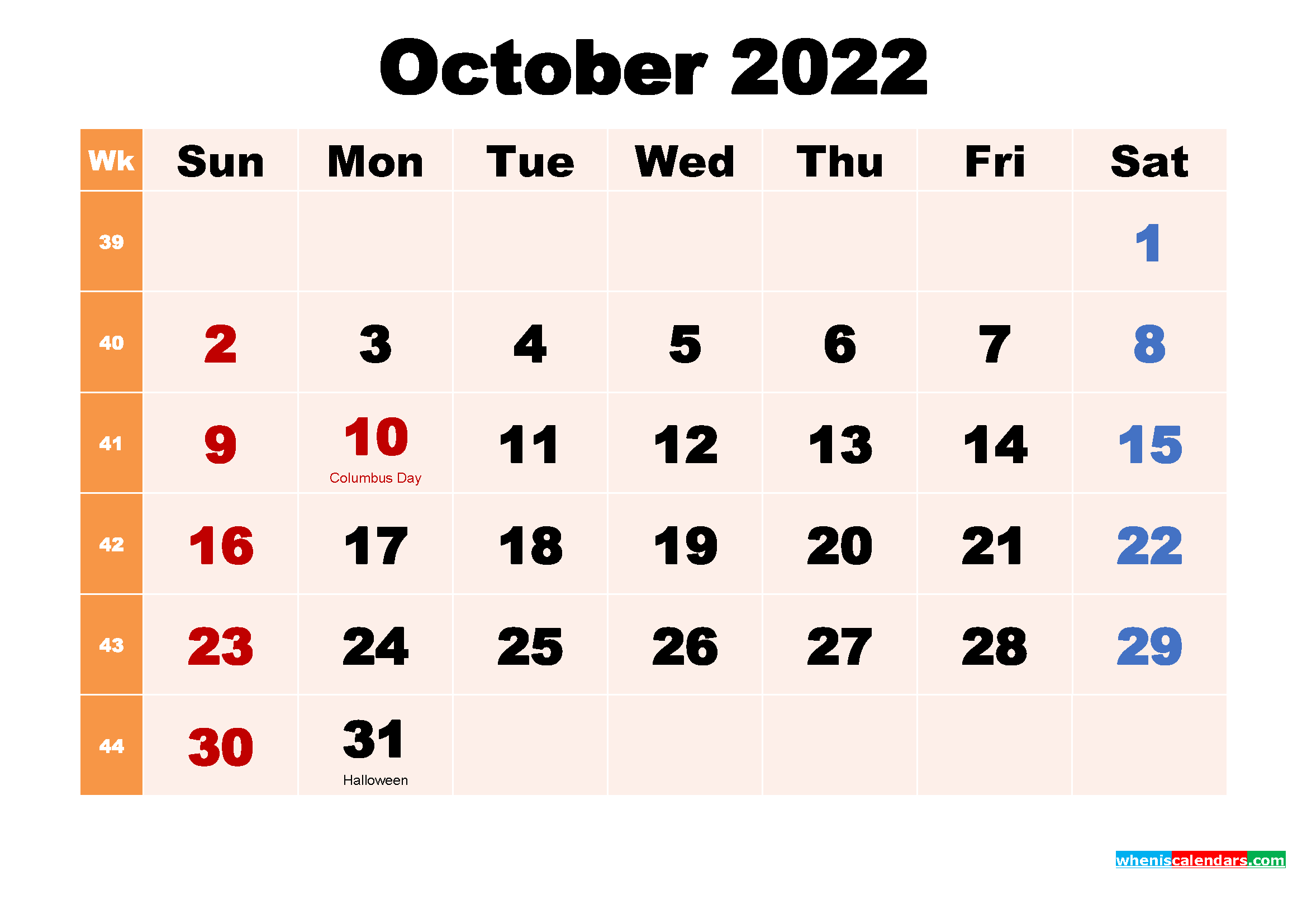 October 2022 Desktop Calendar with Holidays