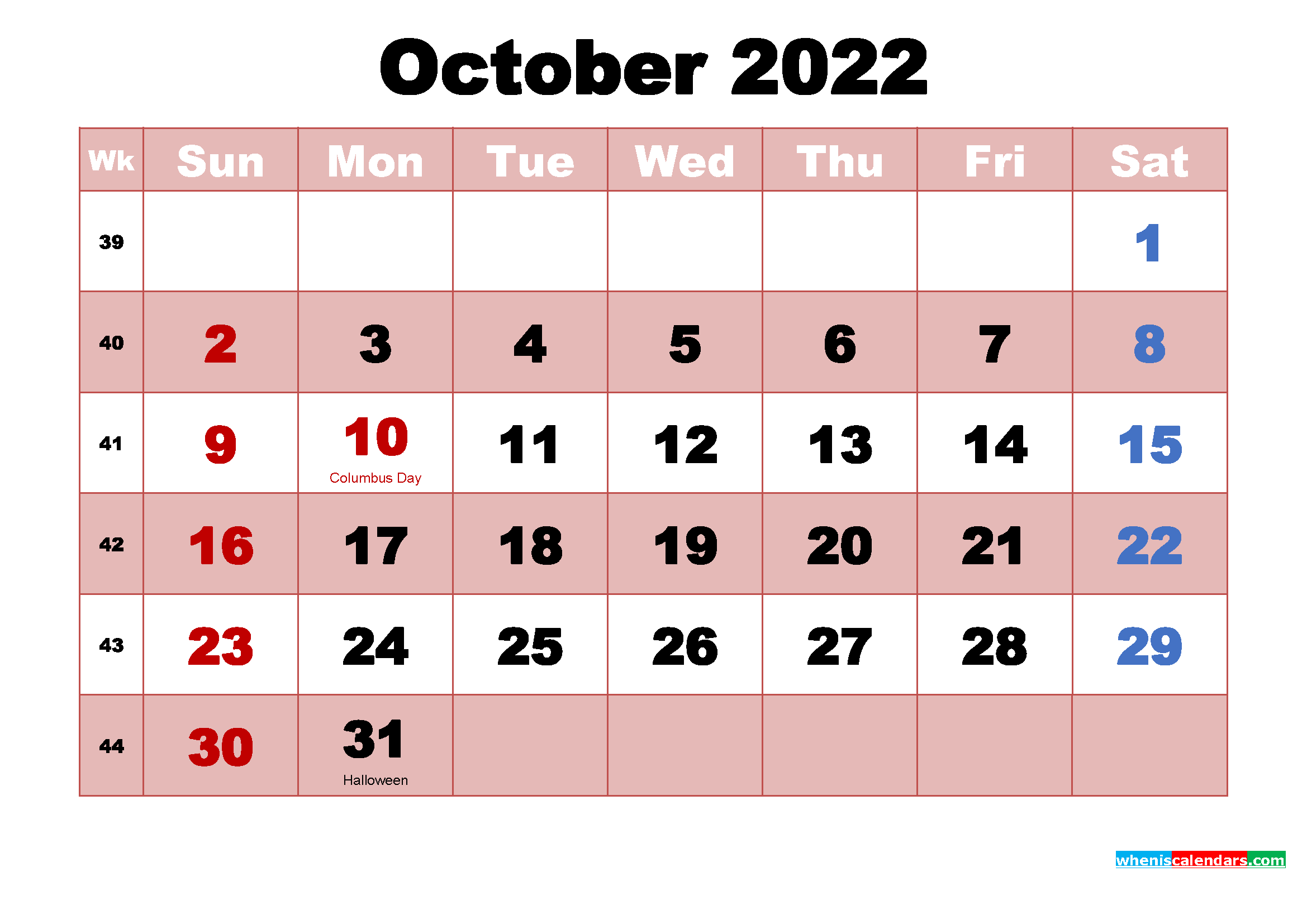October 2022 Calendar with Holidays Wallpaper