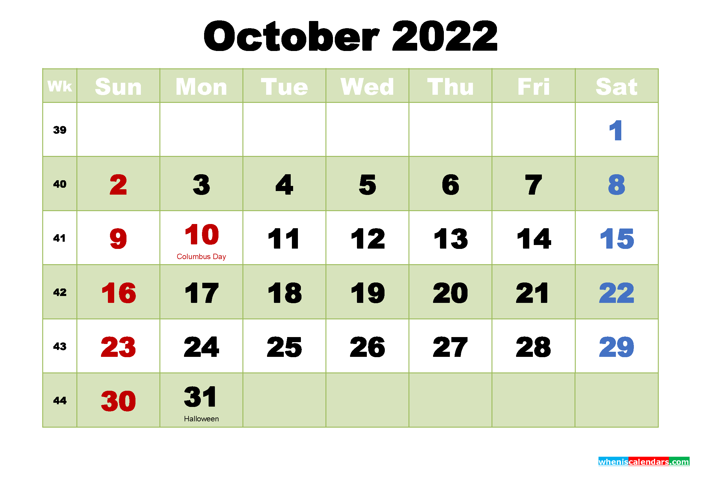 Free Printable October 2022 Calendar Wallpaper