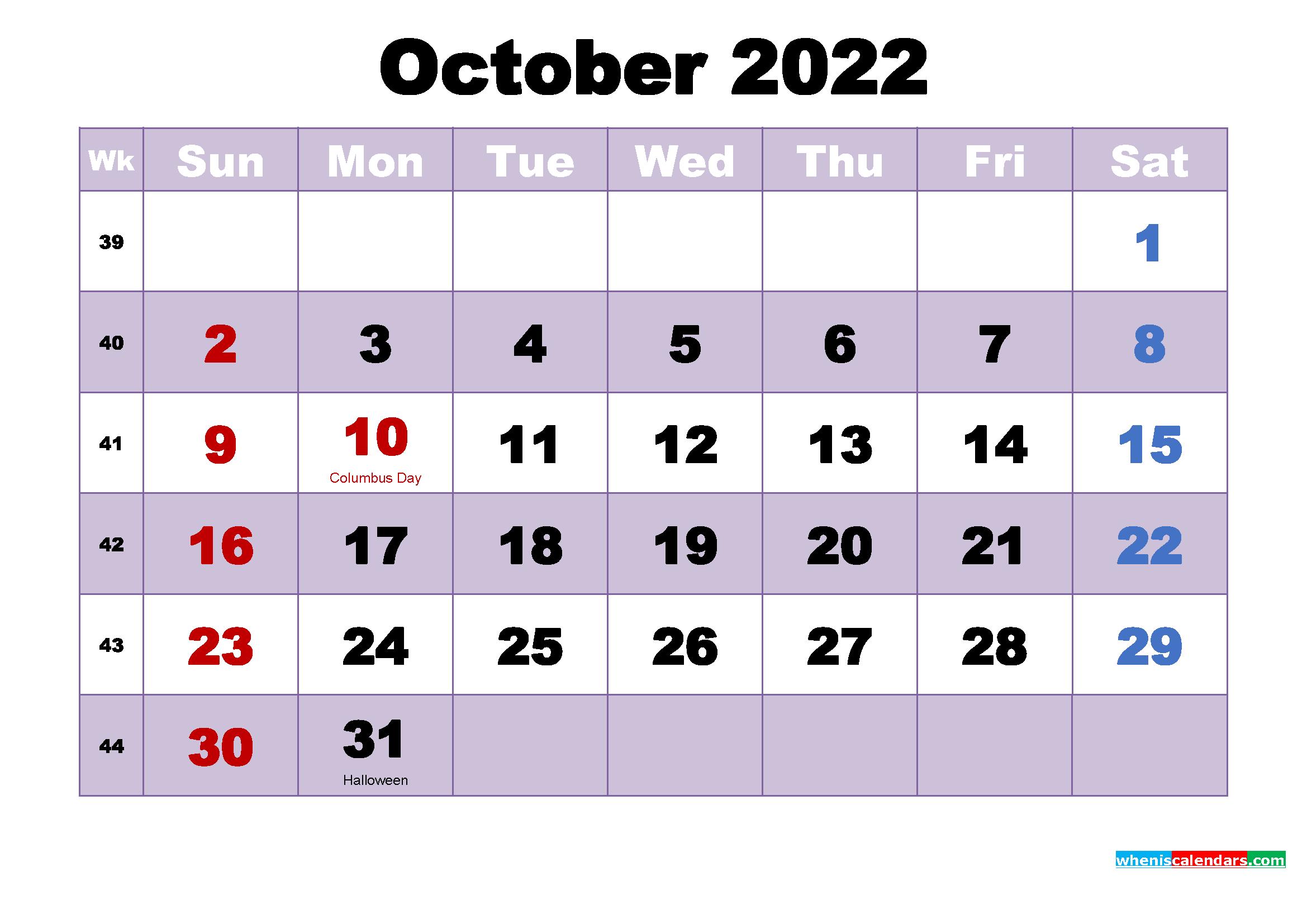 Printable 2022 Calendar with Holidays October
