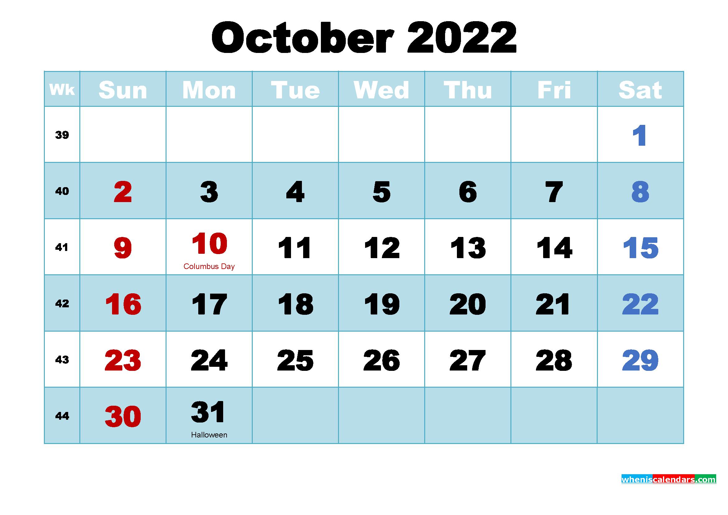 October 2022 Desktop Calendar with Holidays