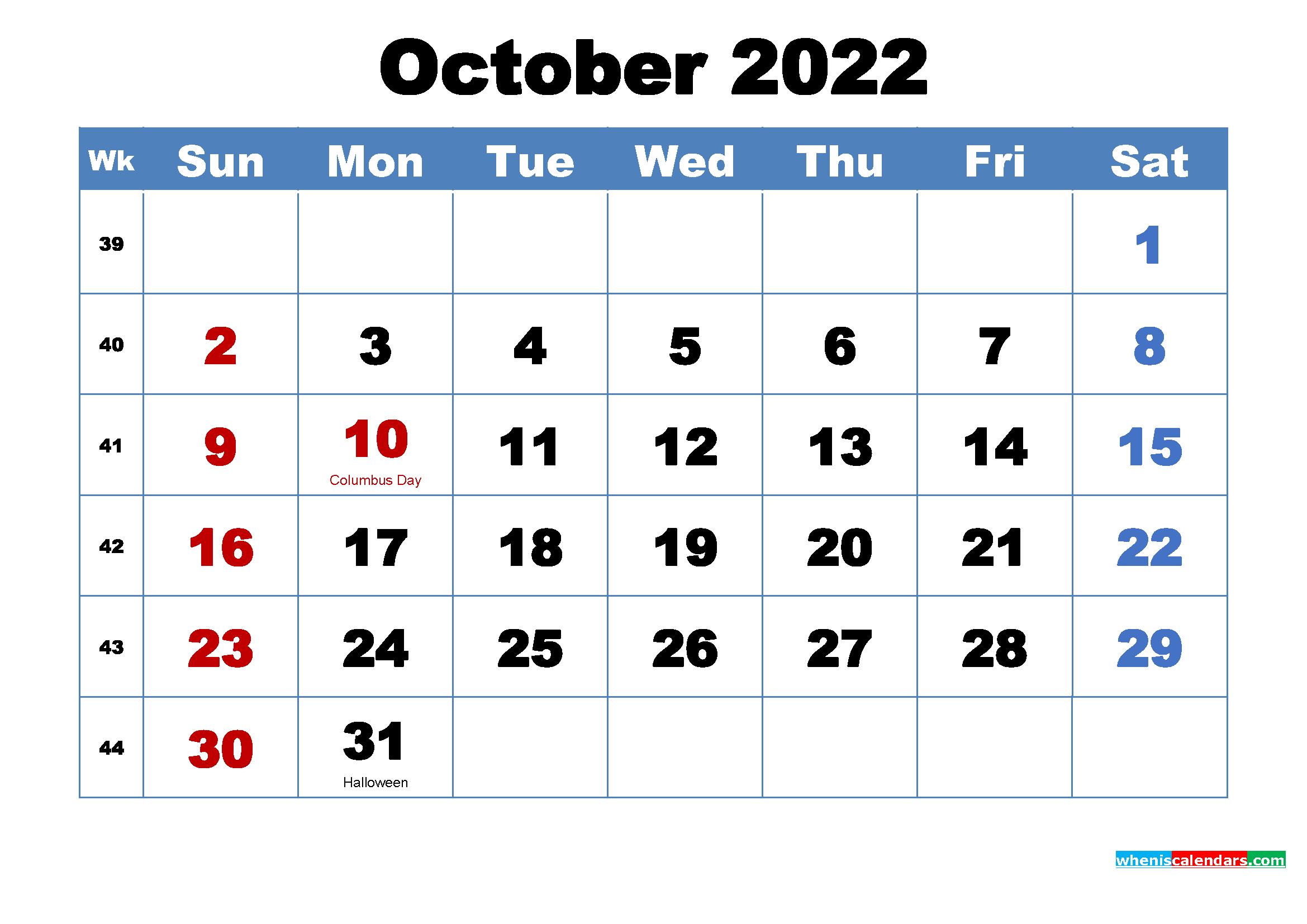 October 2022 Desktop Calendar Free Download