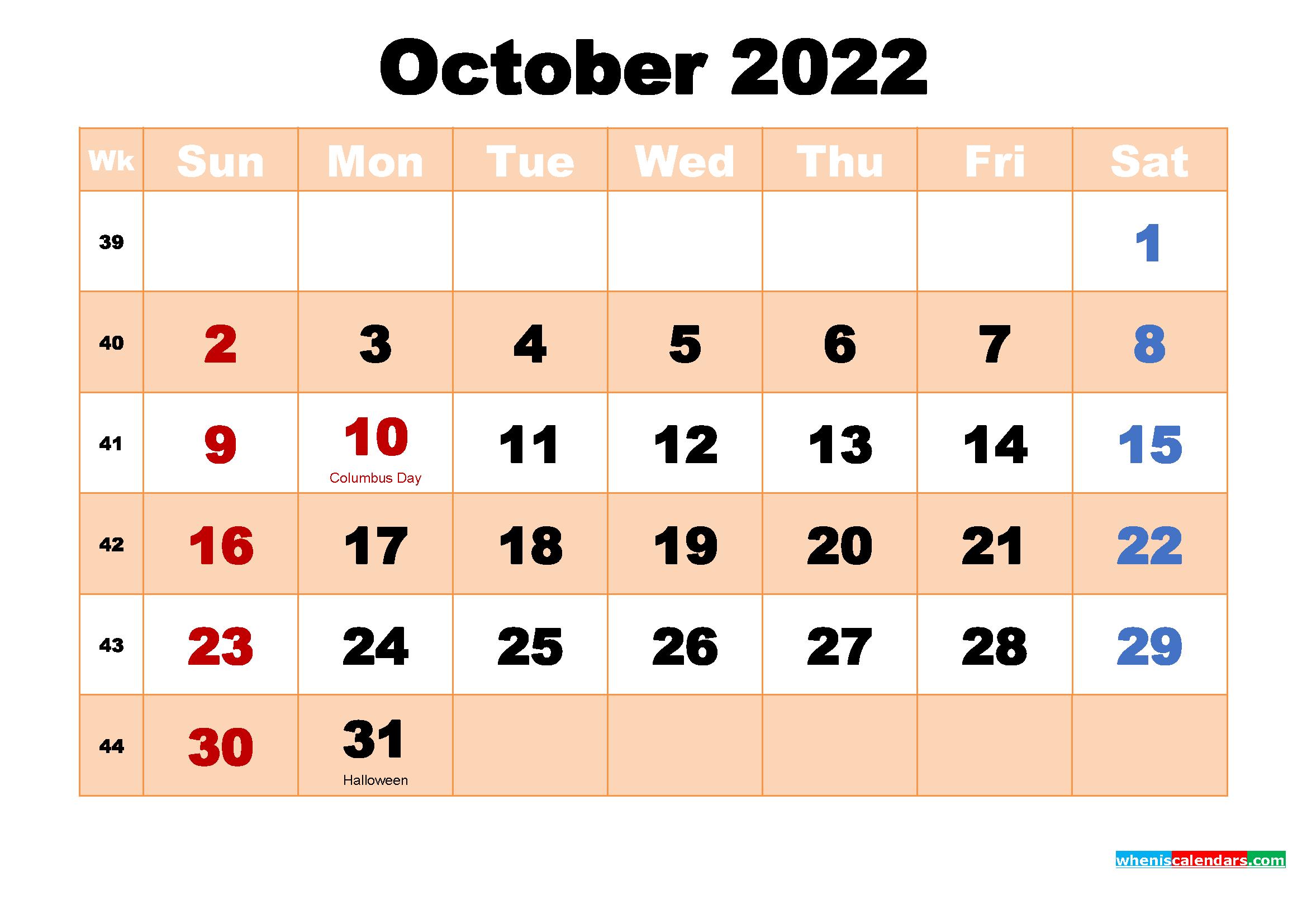October 2022 Desktop Calendar Monthly