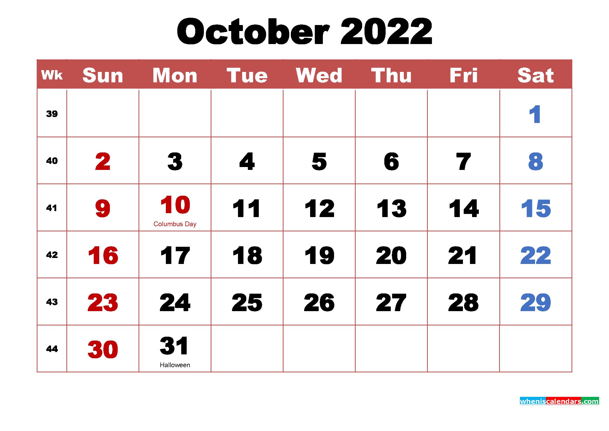 October 2022 Desktop Calendar High Resolution