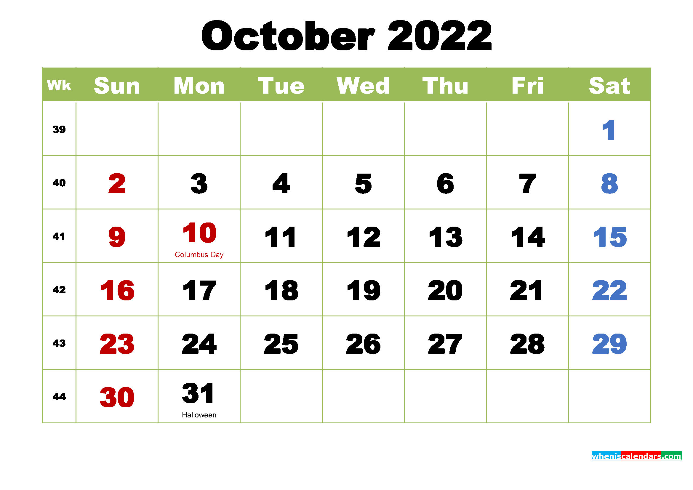 Free Printable 2022 Calendar with Holidays October