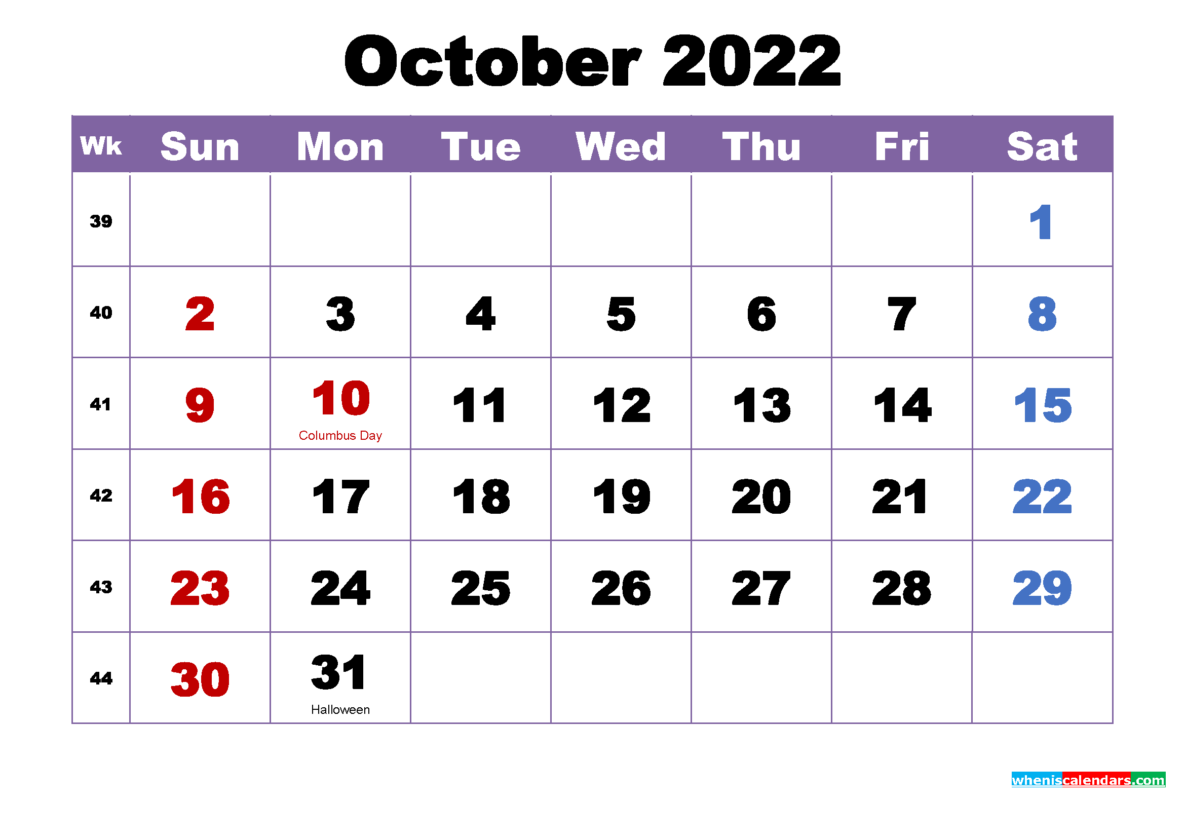 October 2022 Calendar with Holidays Printable