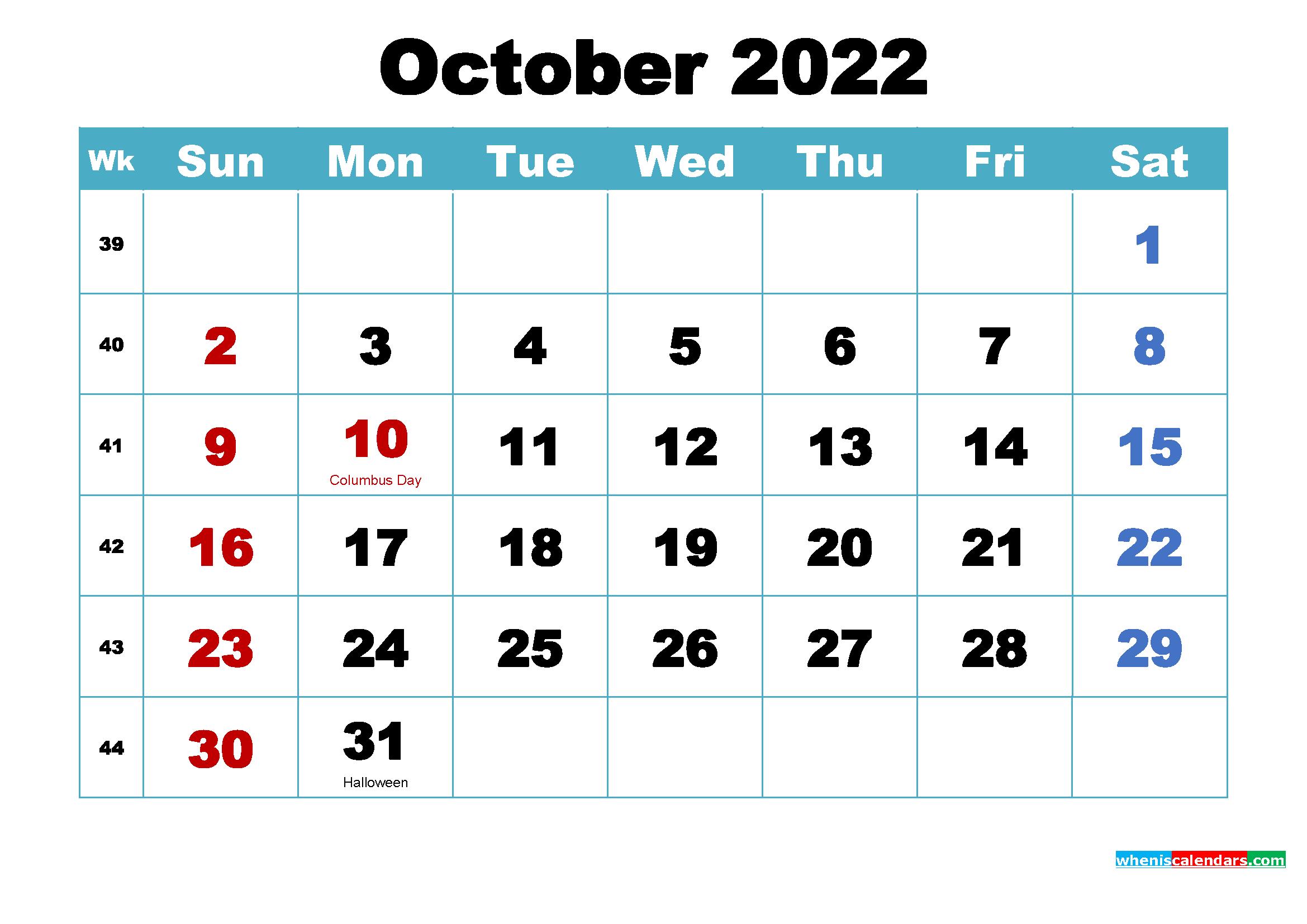 October 2022 Calendar Wallpaper Free Download