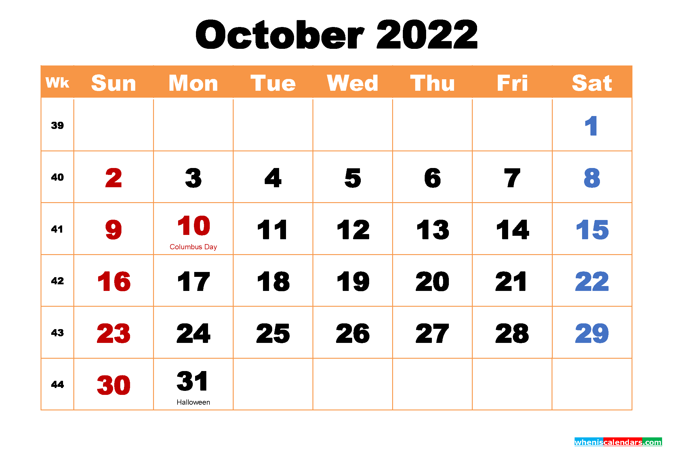 Printable 2022 Calendar by Month October