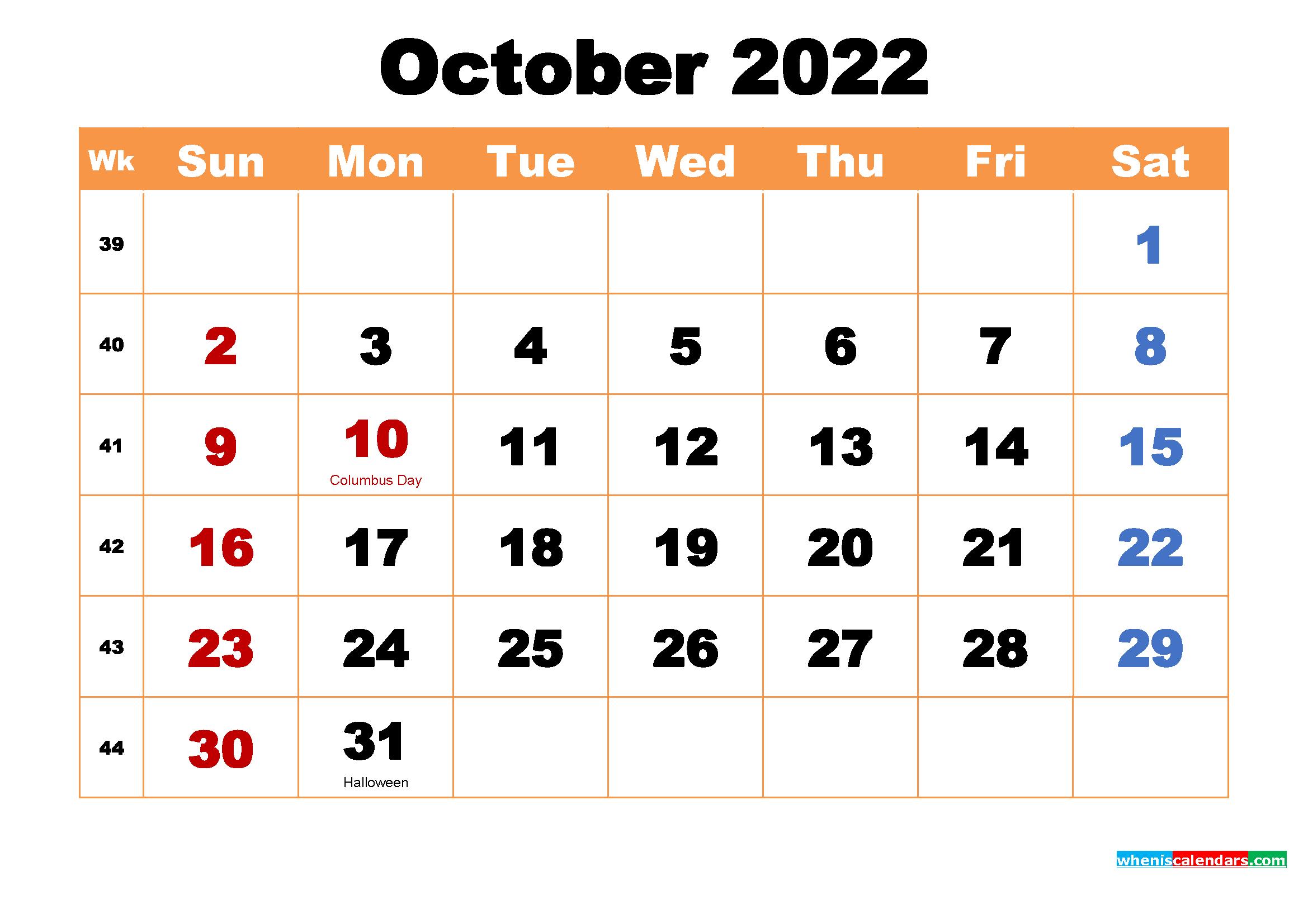 October 2022 Calendar Wallpaper High Resolution