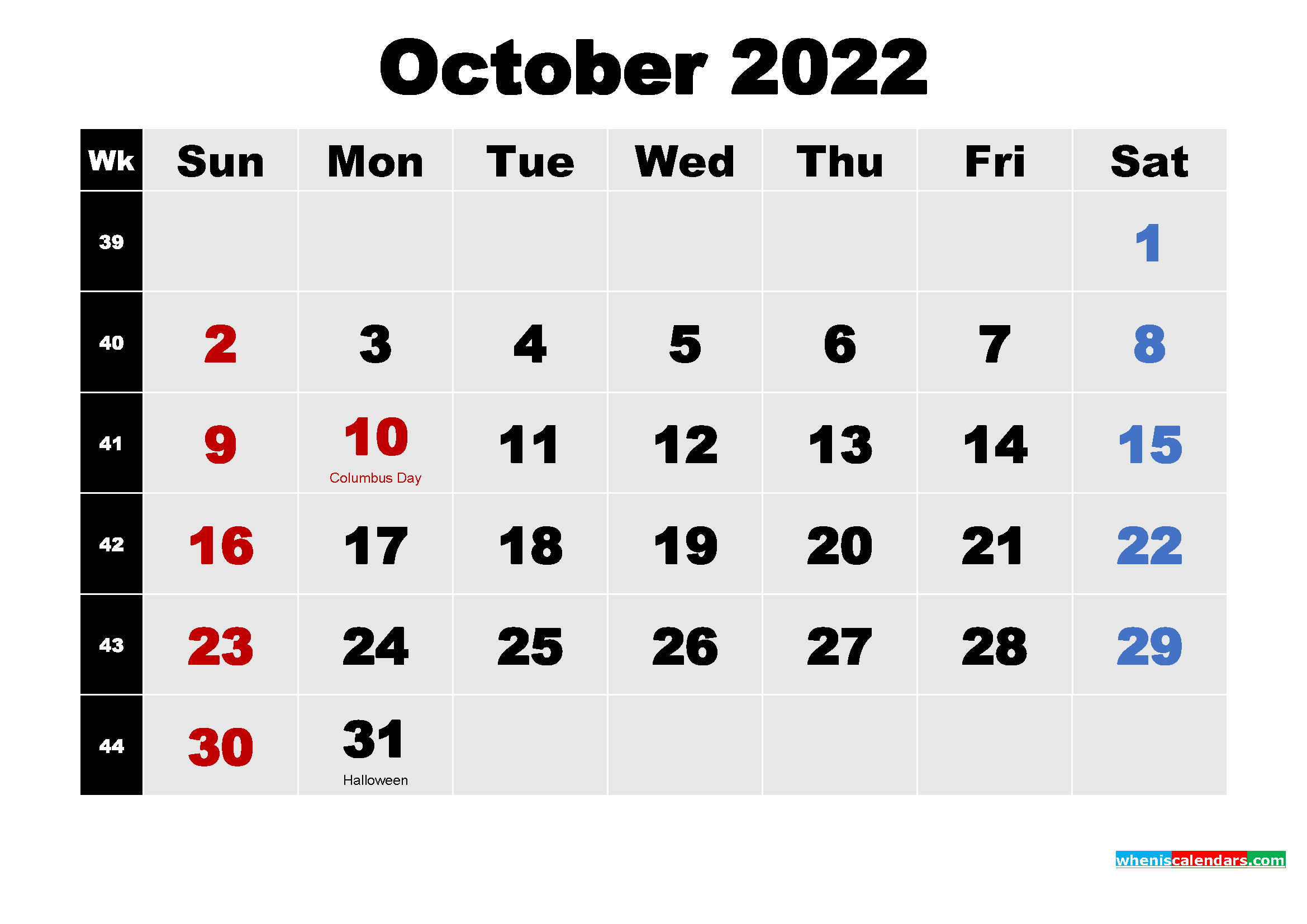 Free Printable October 2022 Calendar Word