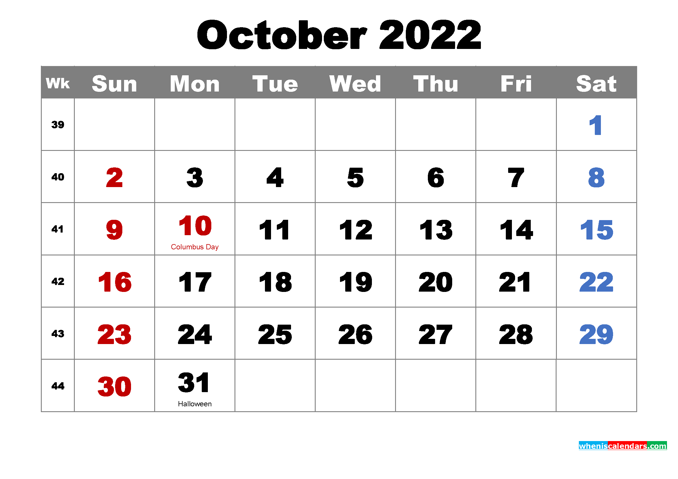 Printable Calendar October 2022 with Holidays as Word, PDF