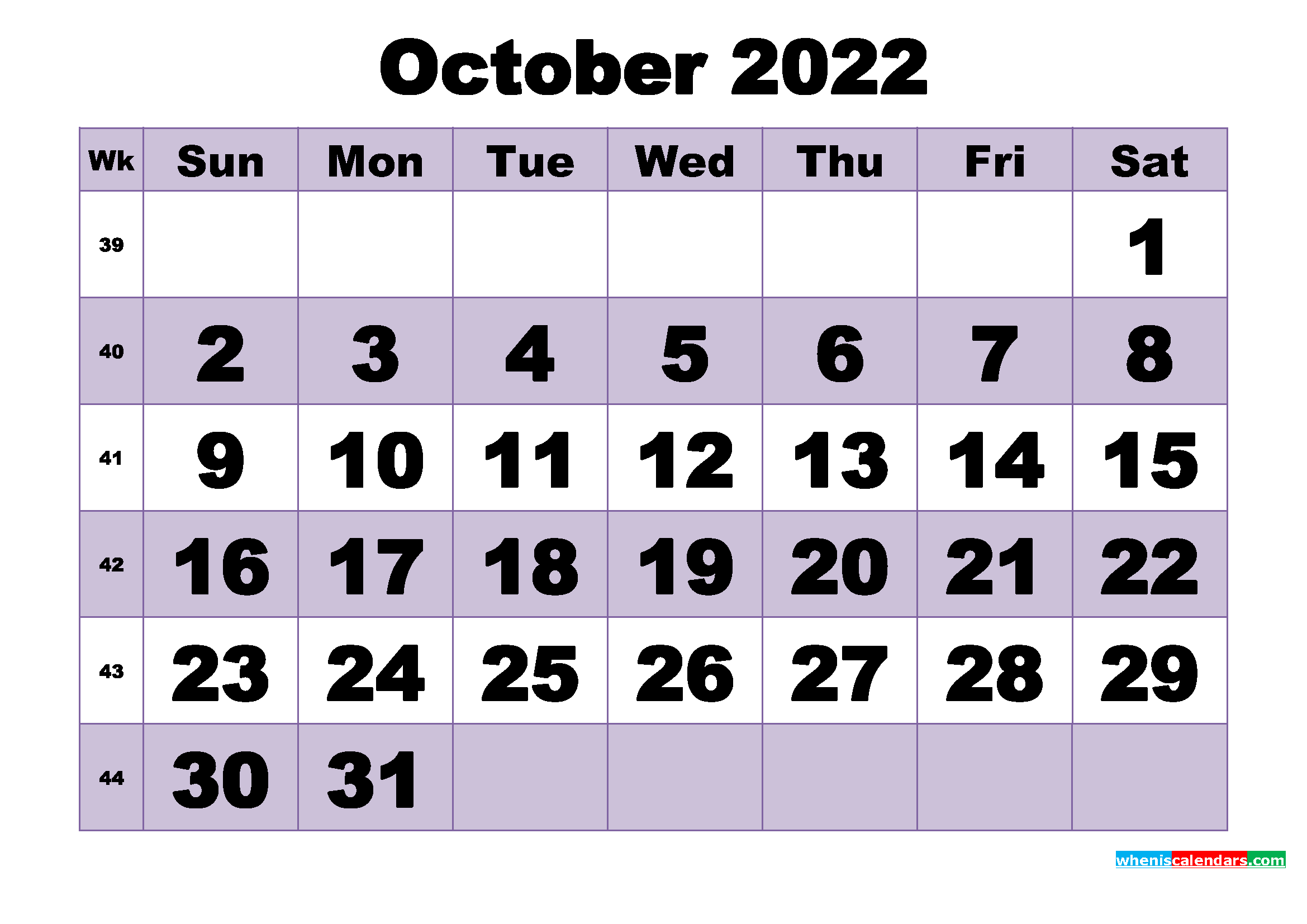 Free October 2022 Printable Monthly Calendar Template