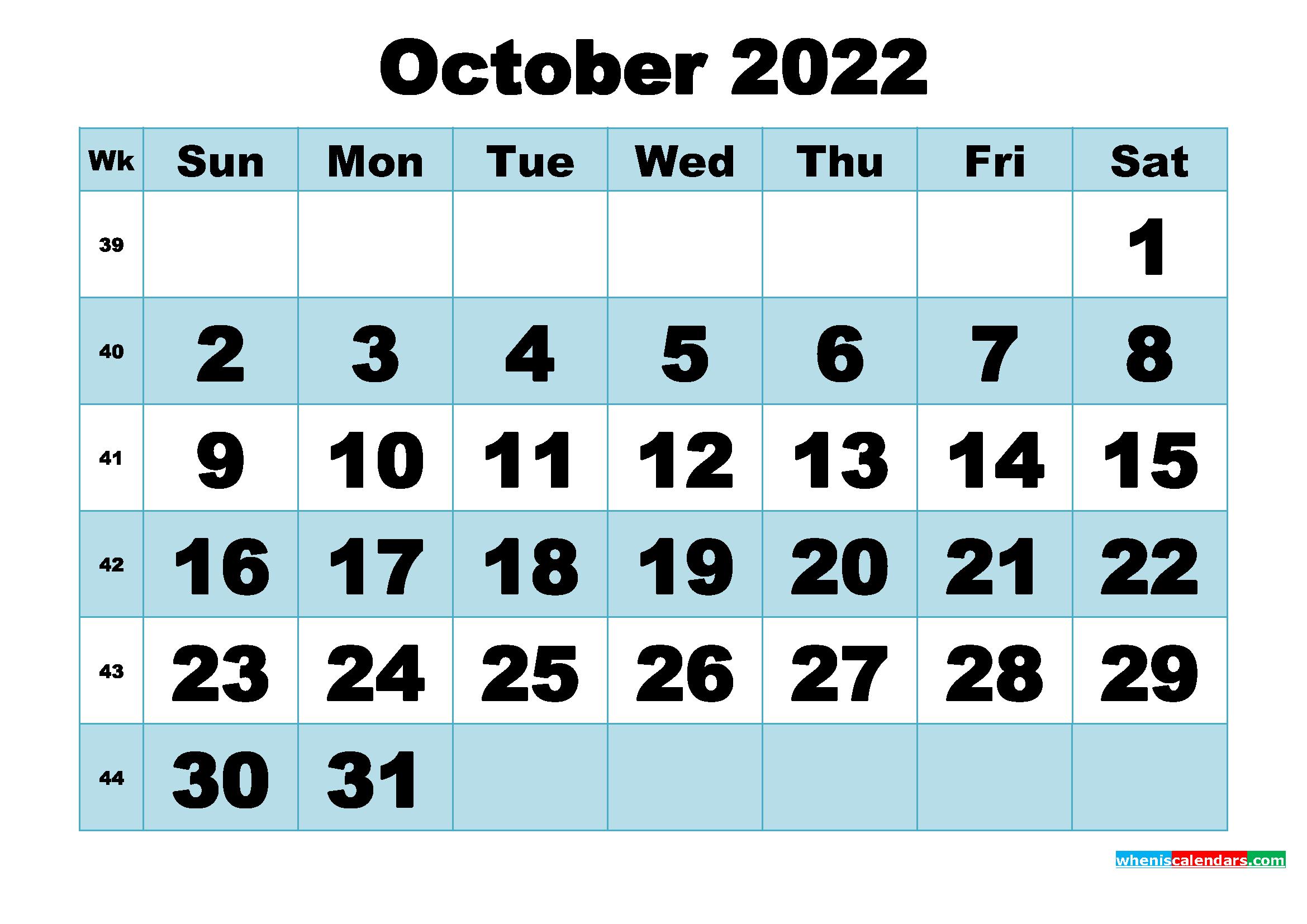 Free Printable October 2022 Calendar Word, PDF, Image ...