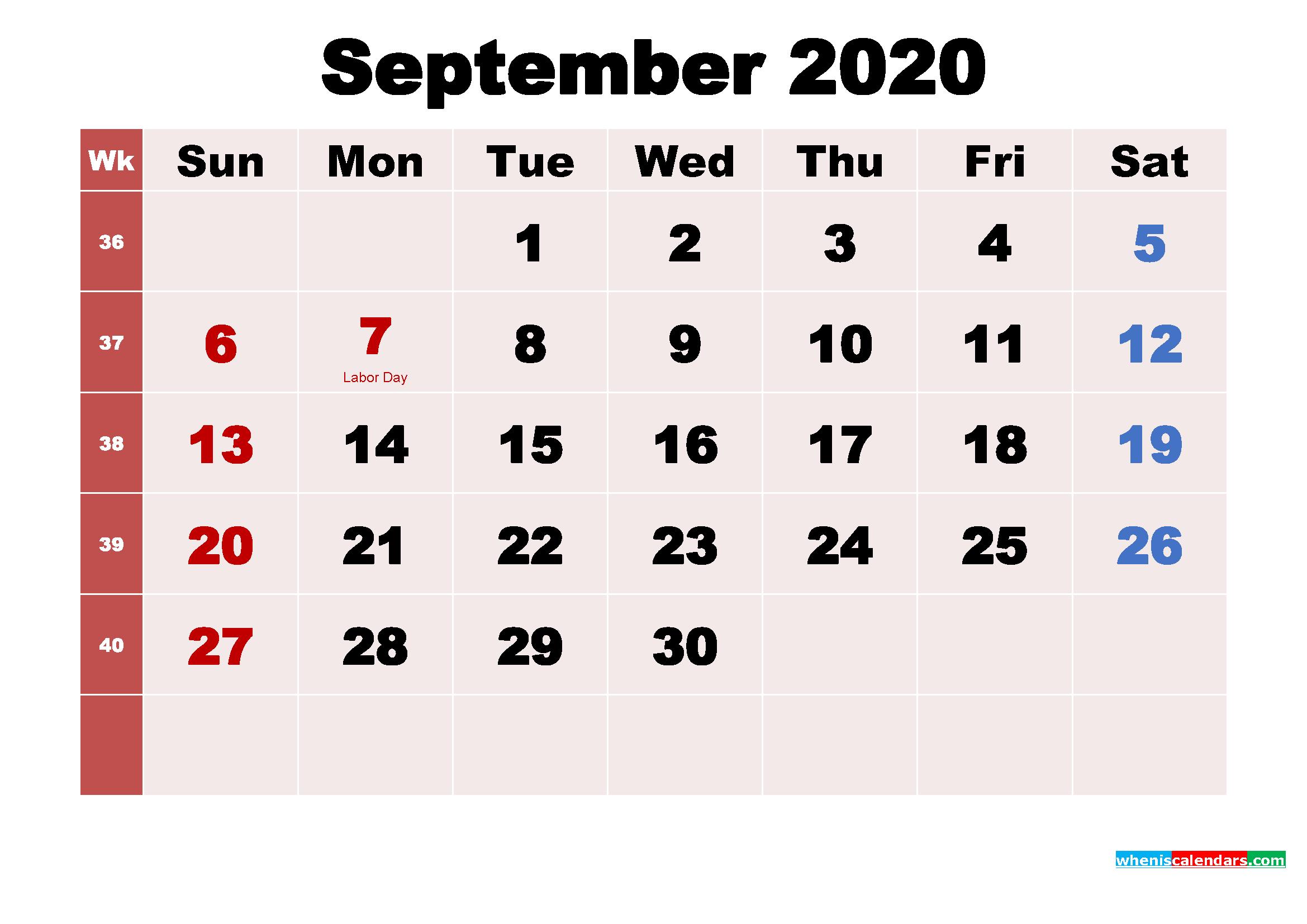September 2020 Desktop Calendar Monthly