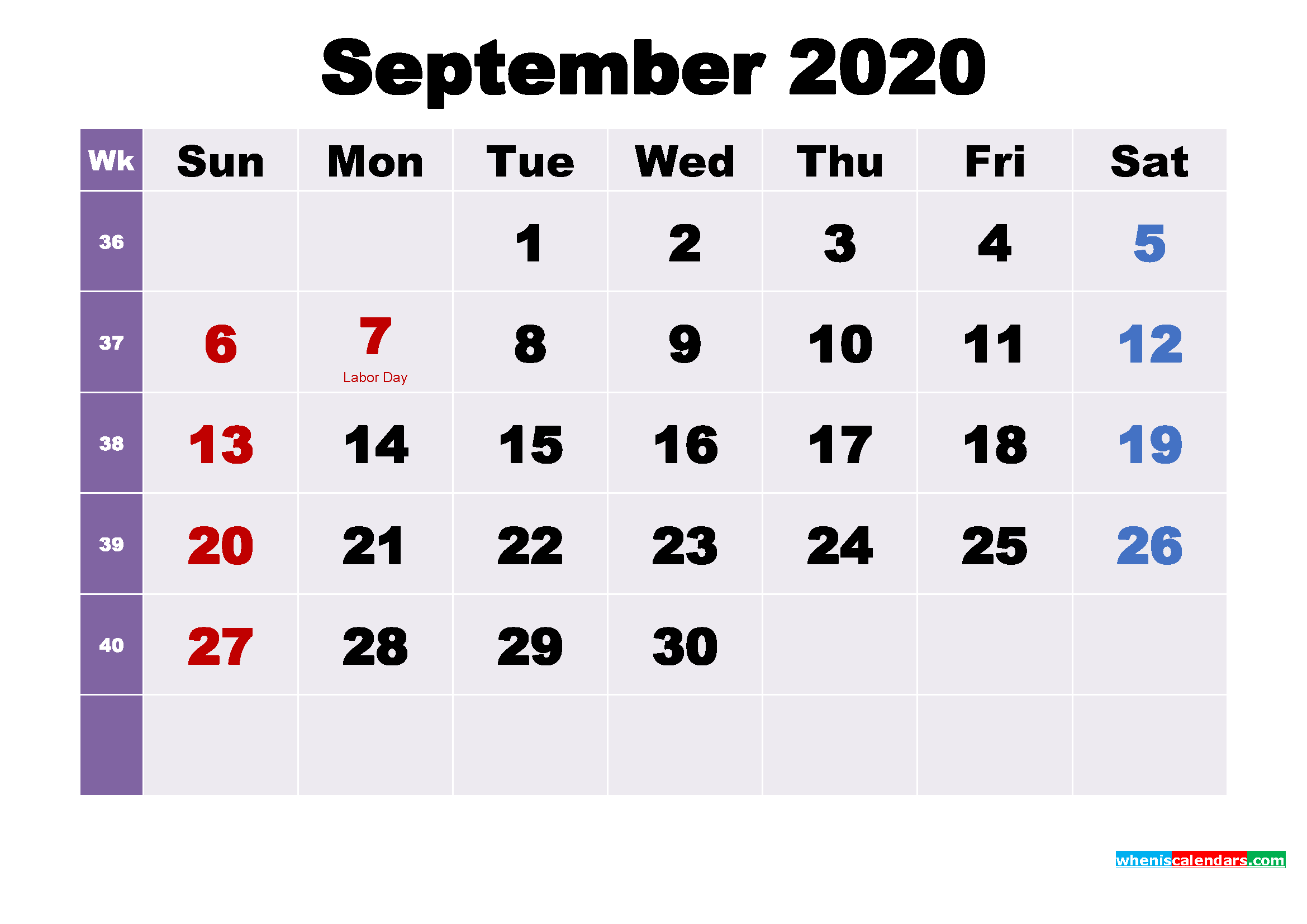 Printable 2020 Calendar by Month September