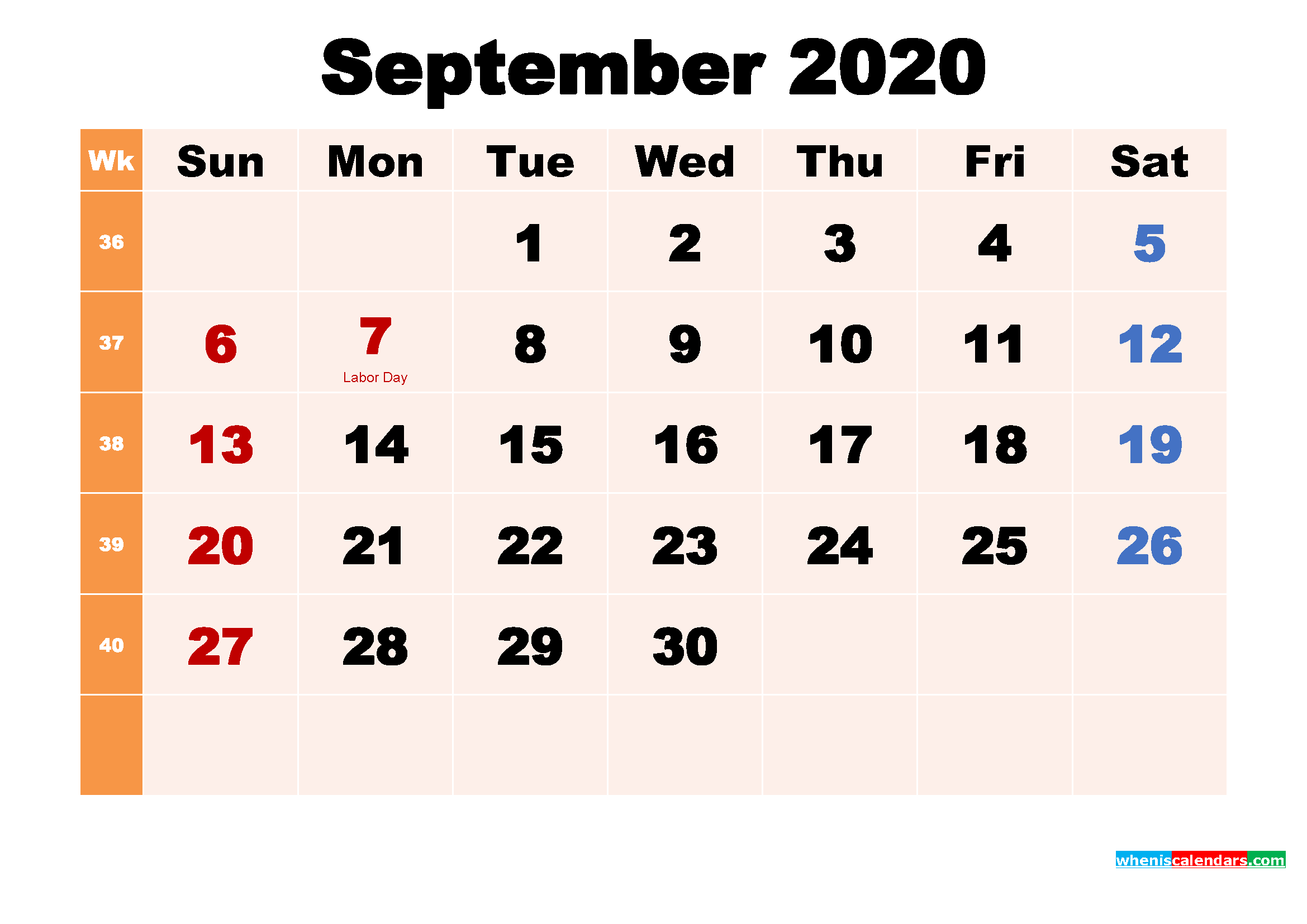 Free Printable 2020 Calendar with Holidays September