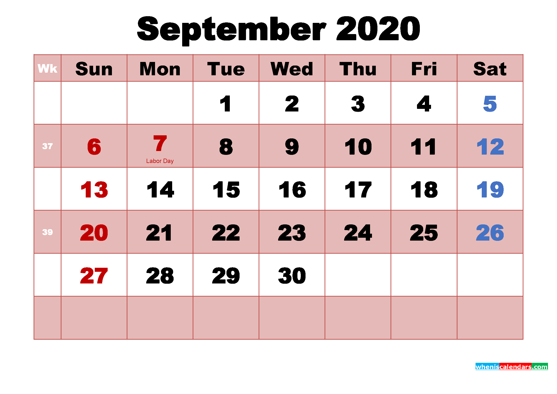 Printable September 2020 Calendar by Month