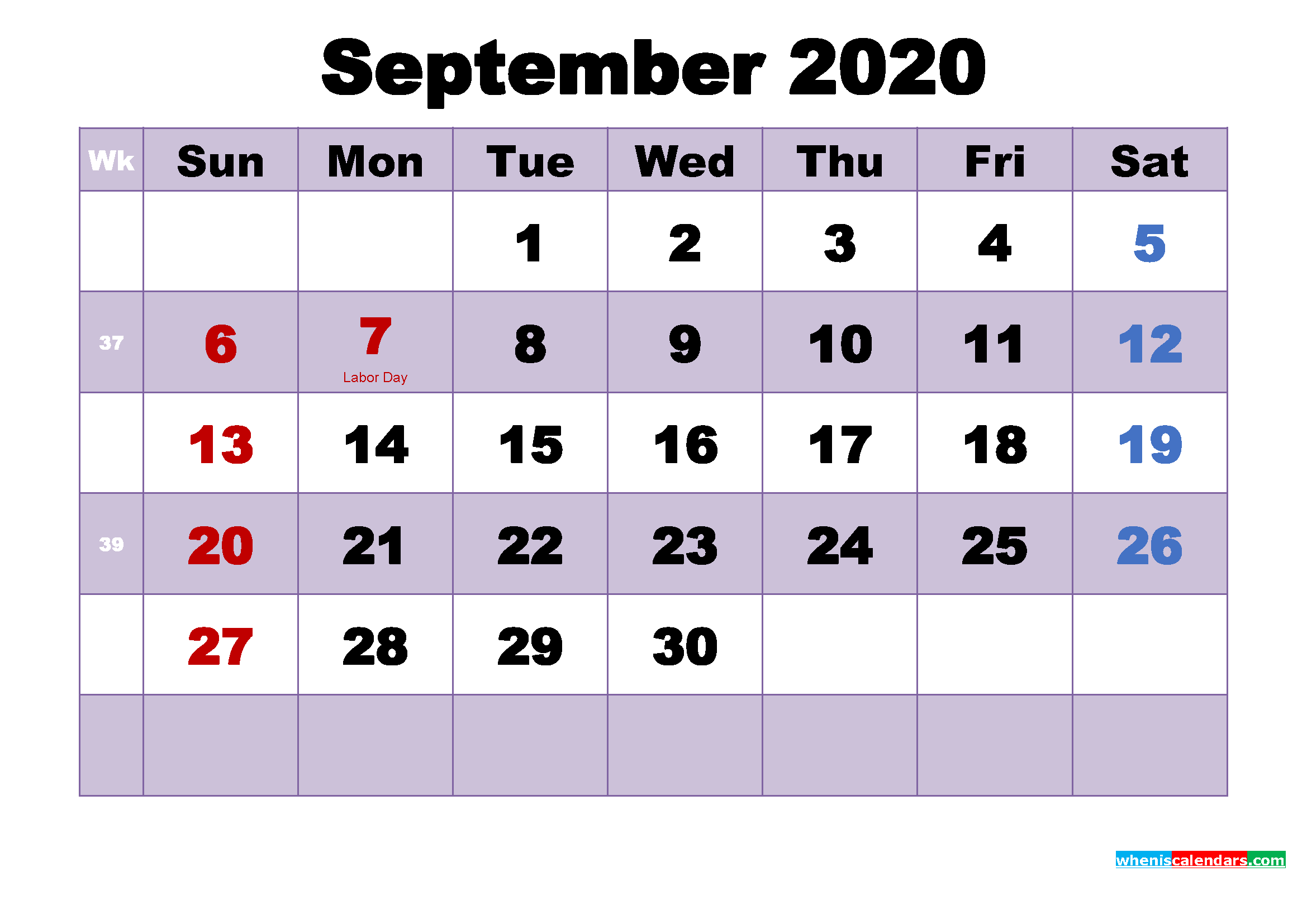 Printable 2020 Calendar with Holidays September