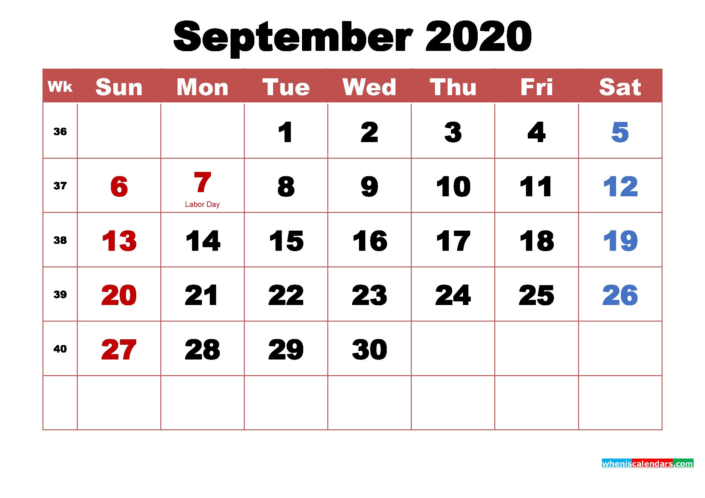 September 2020 Desktop Calendar High Resolution
