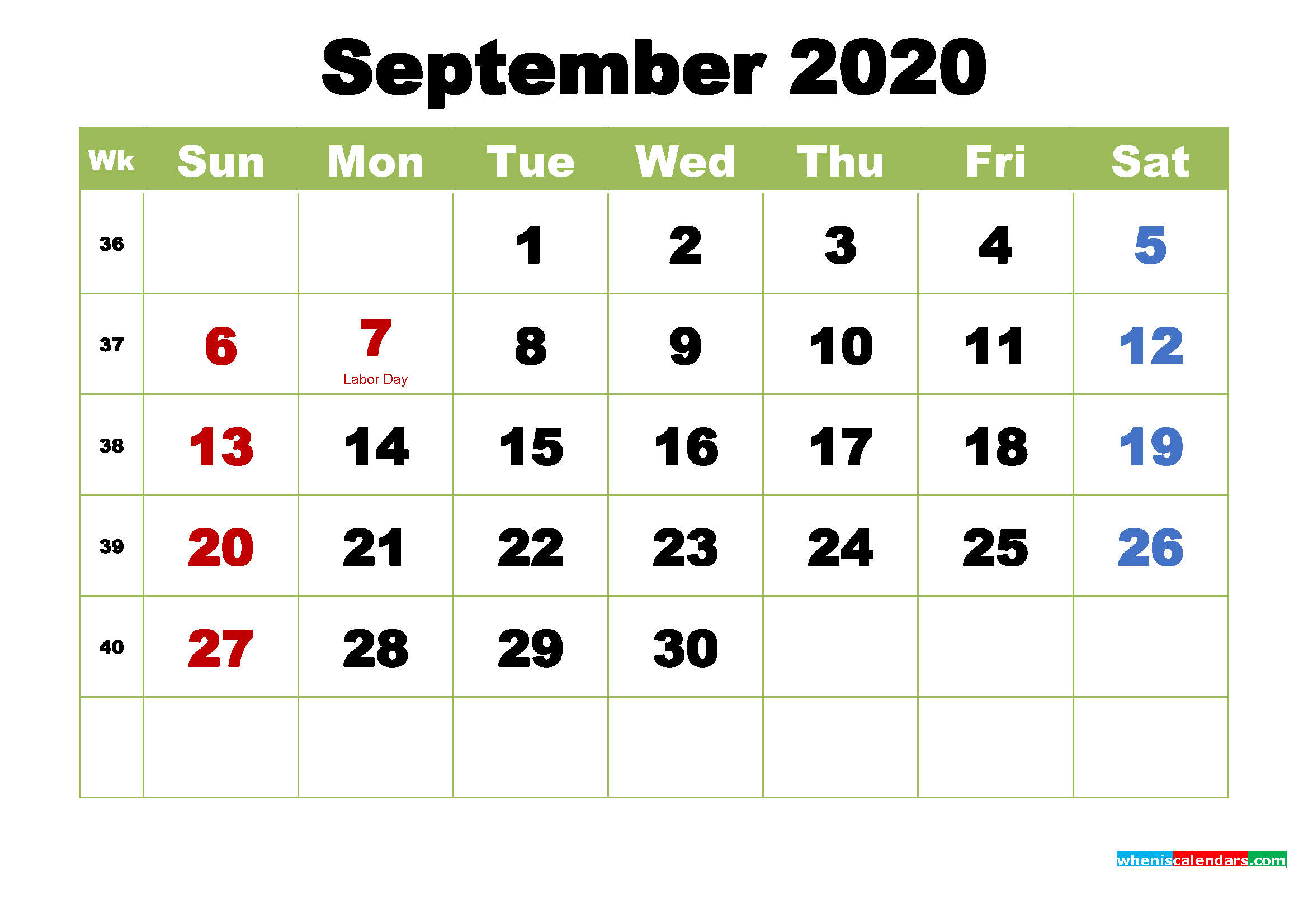 September 2020 Calendar with Holidays Wallpaper