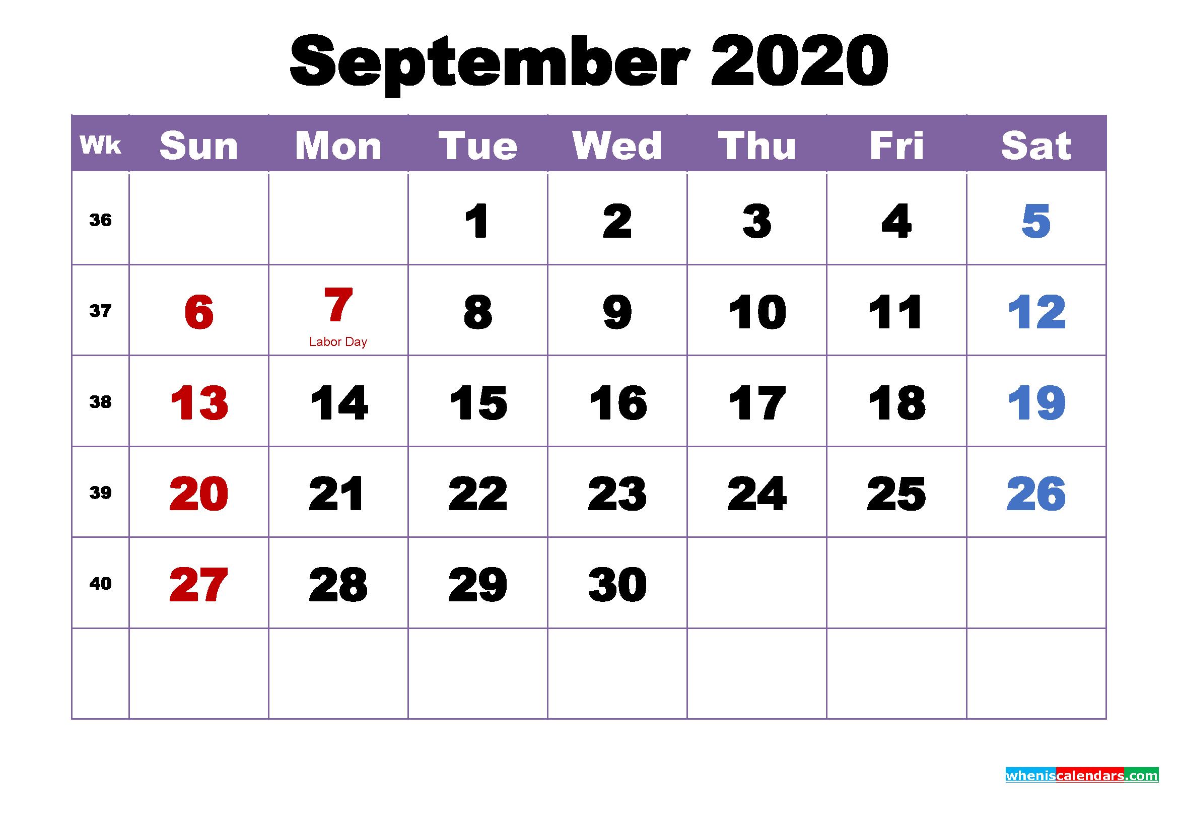 Free Printable September 2020 Calendar Wallpaper